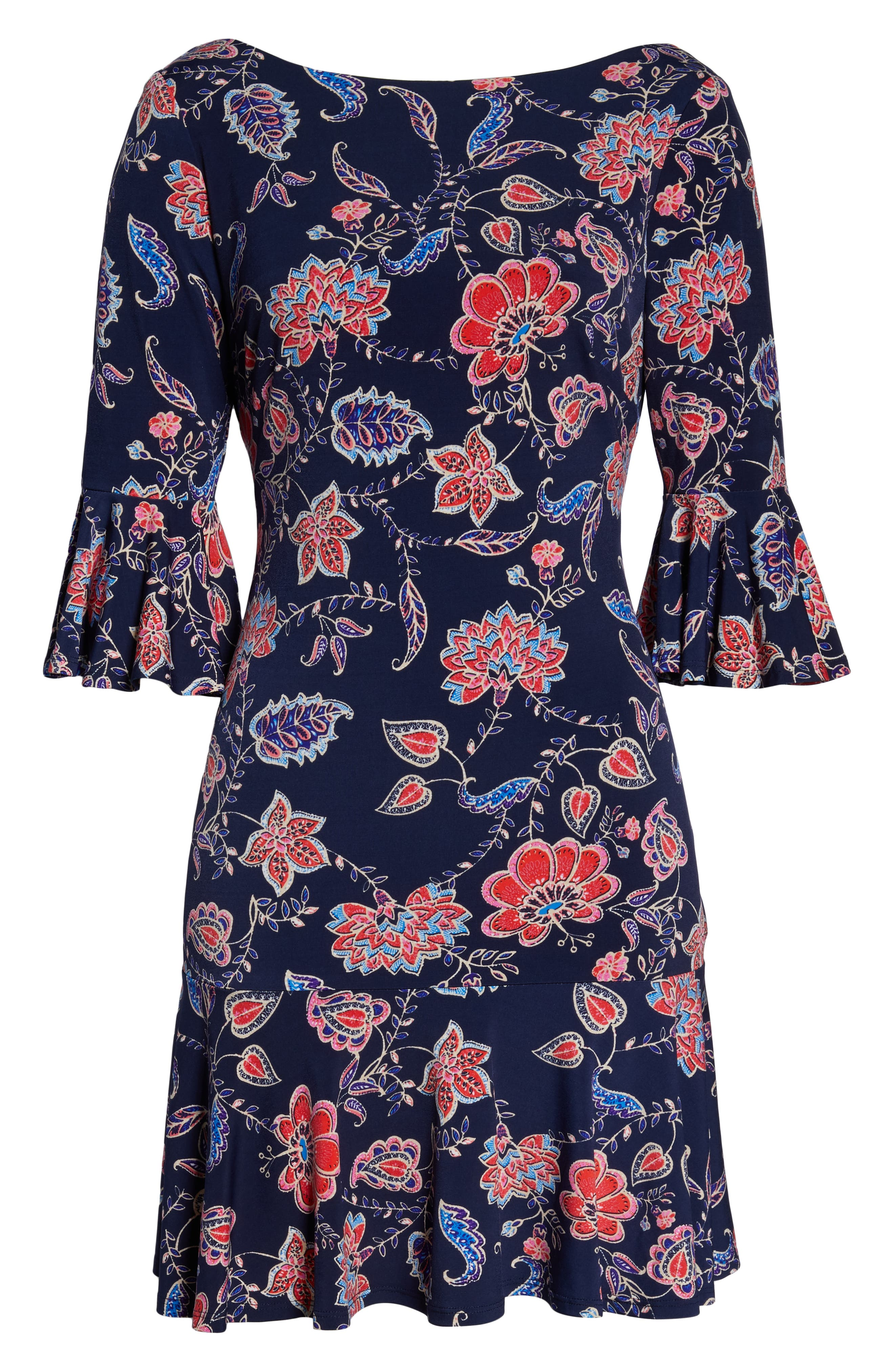 Petite Eliza J Bell Sleeve Sheath Dress, Blue
