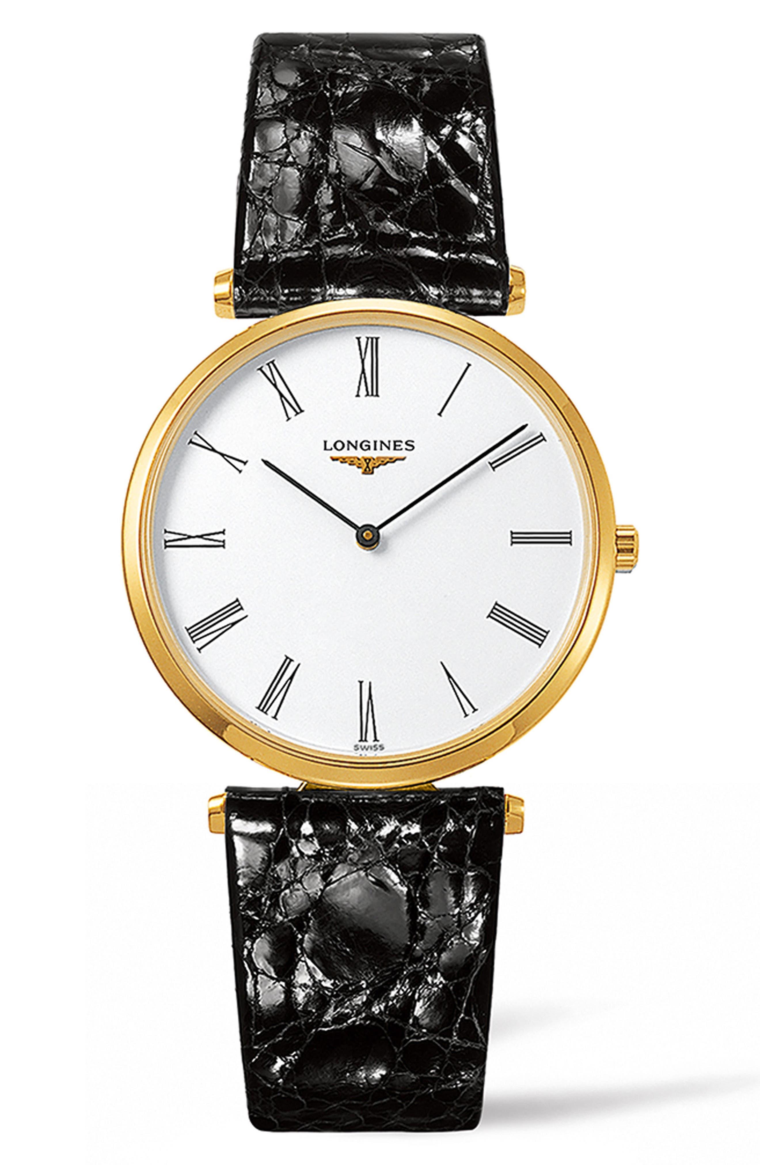 La Grande Classique Leather Strap Watch, 36mm,                             Main thumbnail 1, color,                             BLACK/ WHITE/ GOLD