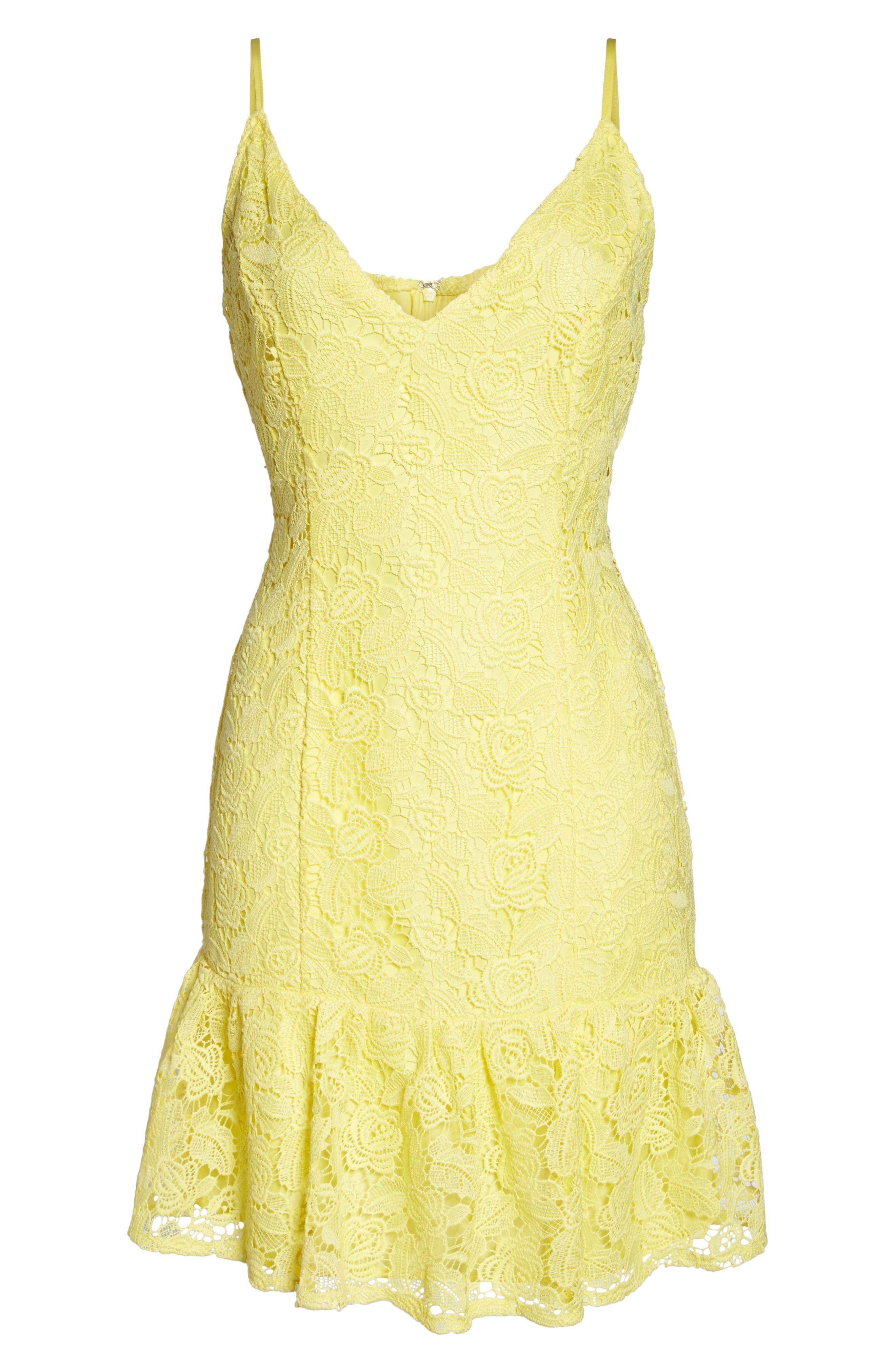 Gisel Ruffle Hem Lace Dress,                             Alternate thumbnail 6, color,                             720