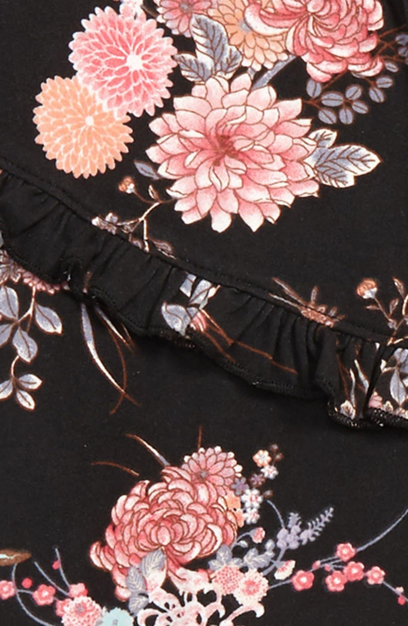 Floral Knit Top,                             Alternate thumbnail 2, color,                             BLACK FLORAL