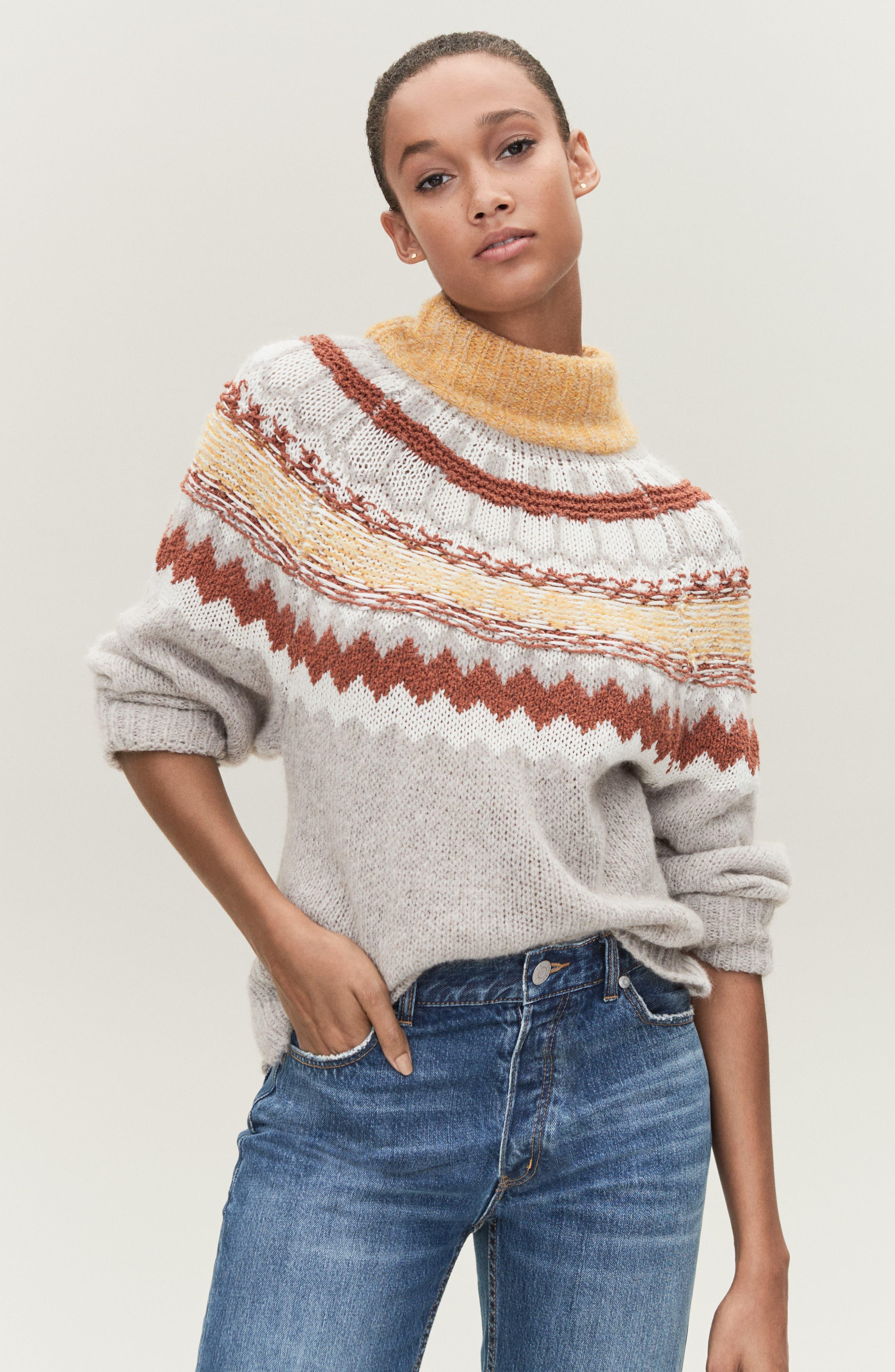 Chunky Jacquard Sweater,                             Alternate thumbnail 7, color,                             TAN COBBLESTONE FOLIAGE PTN