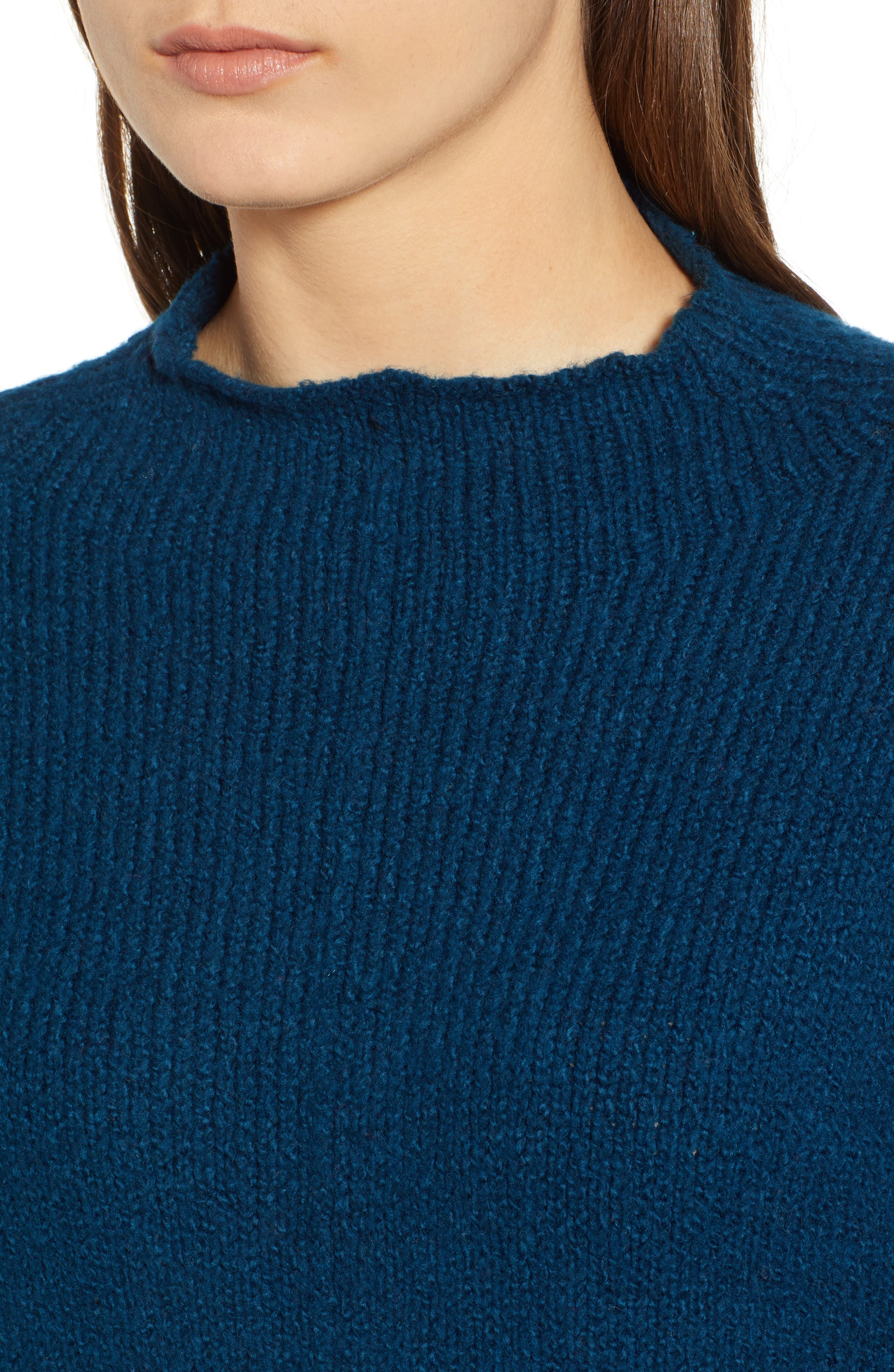 Fuzzy Side Slit Sweater,                             Alternate thumbnail 4, color,                             401