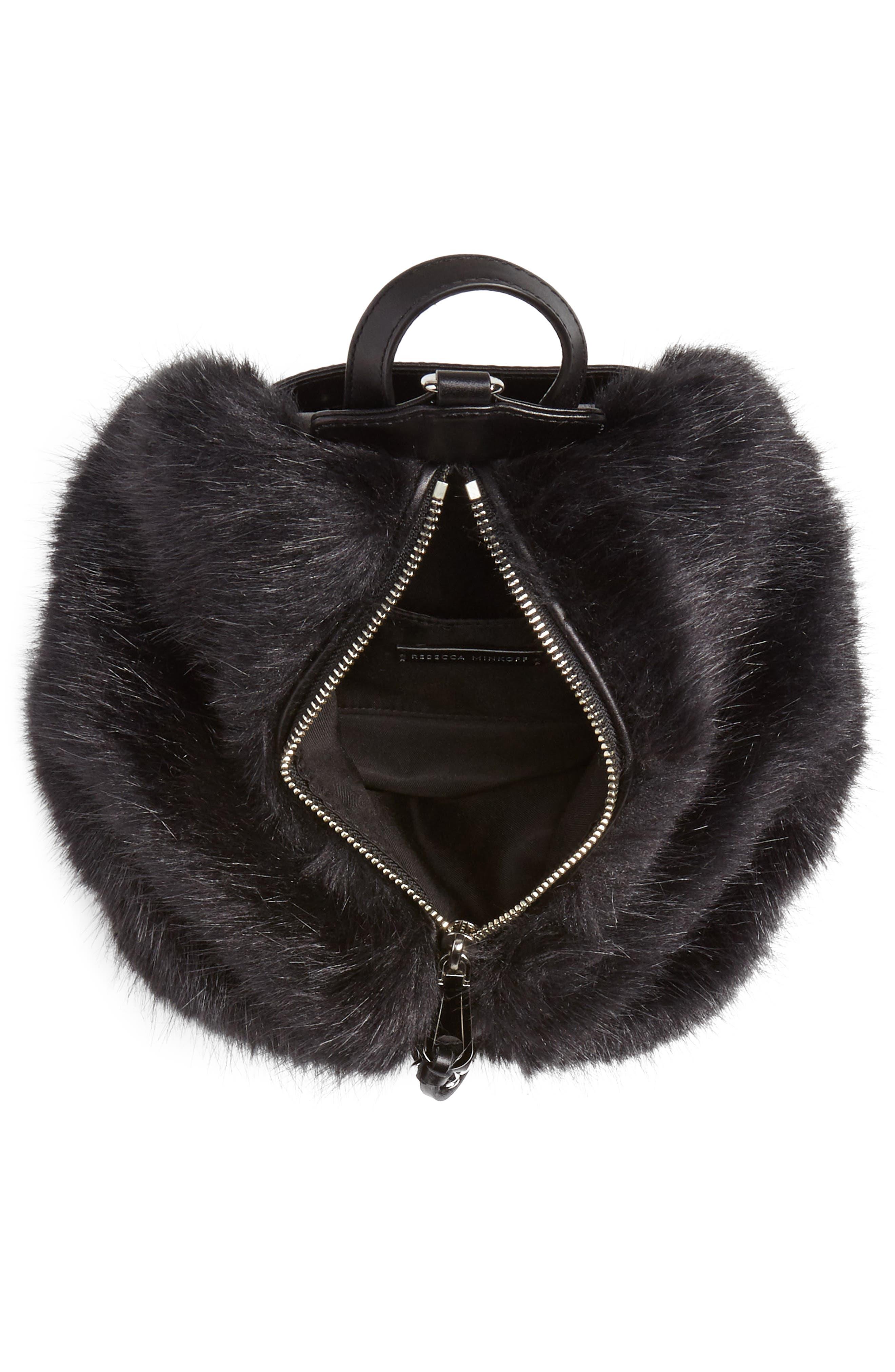 Mini Julian Faux Fur Backpack,                             Alternate thumbnail 5, color,                             BLACK