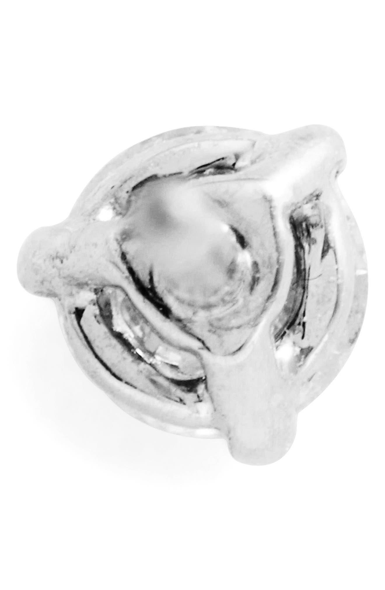 Single Diamond Stud Earring,                             Alternate thumbnail 4, color,                             WHITE GOLD