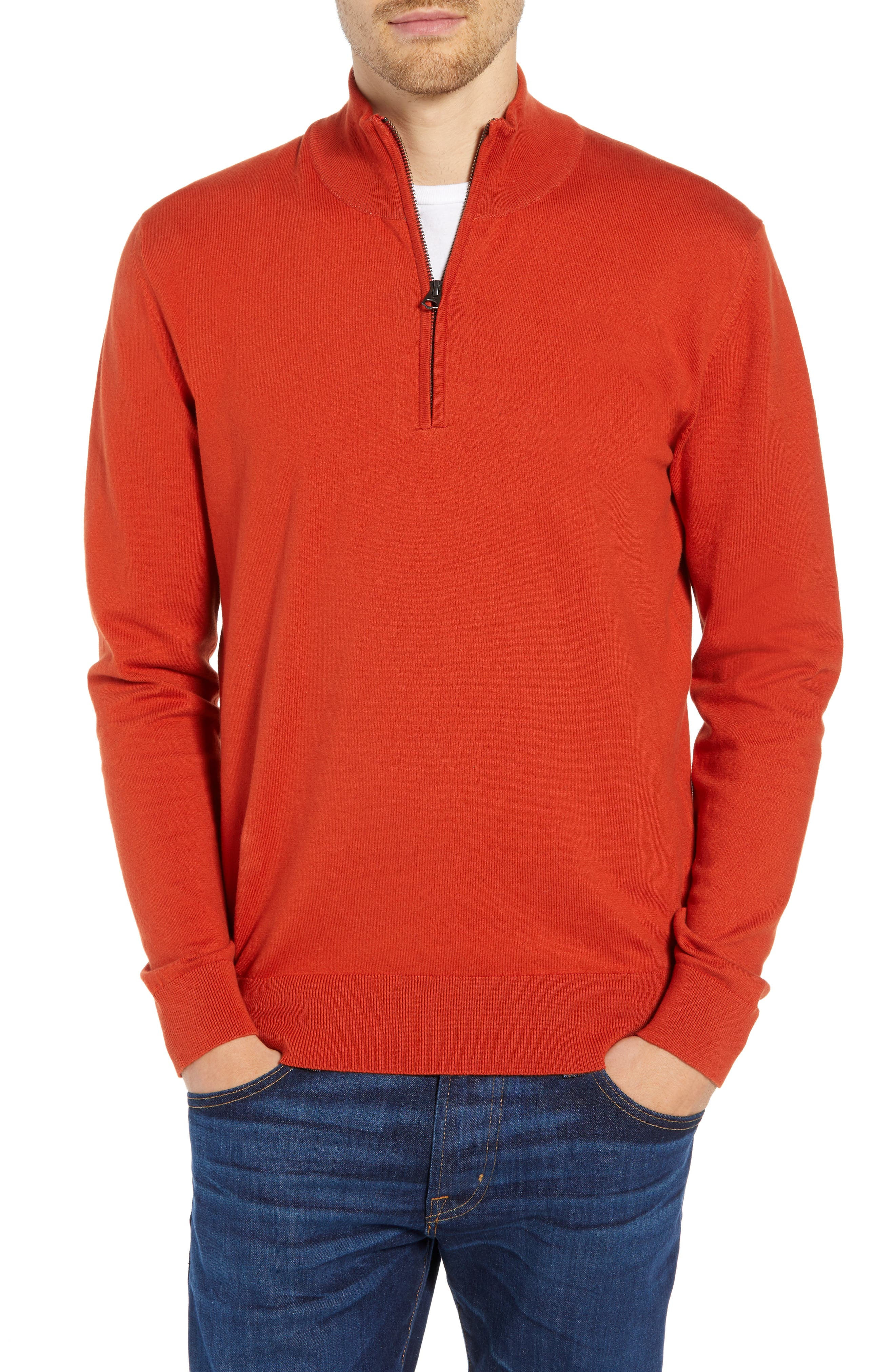 French Connection Stretch Cotton Quarter Zip Sweater, Red