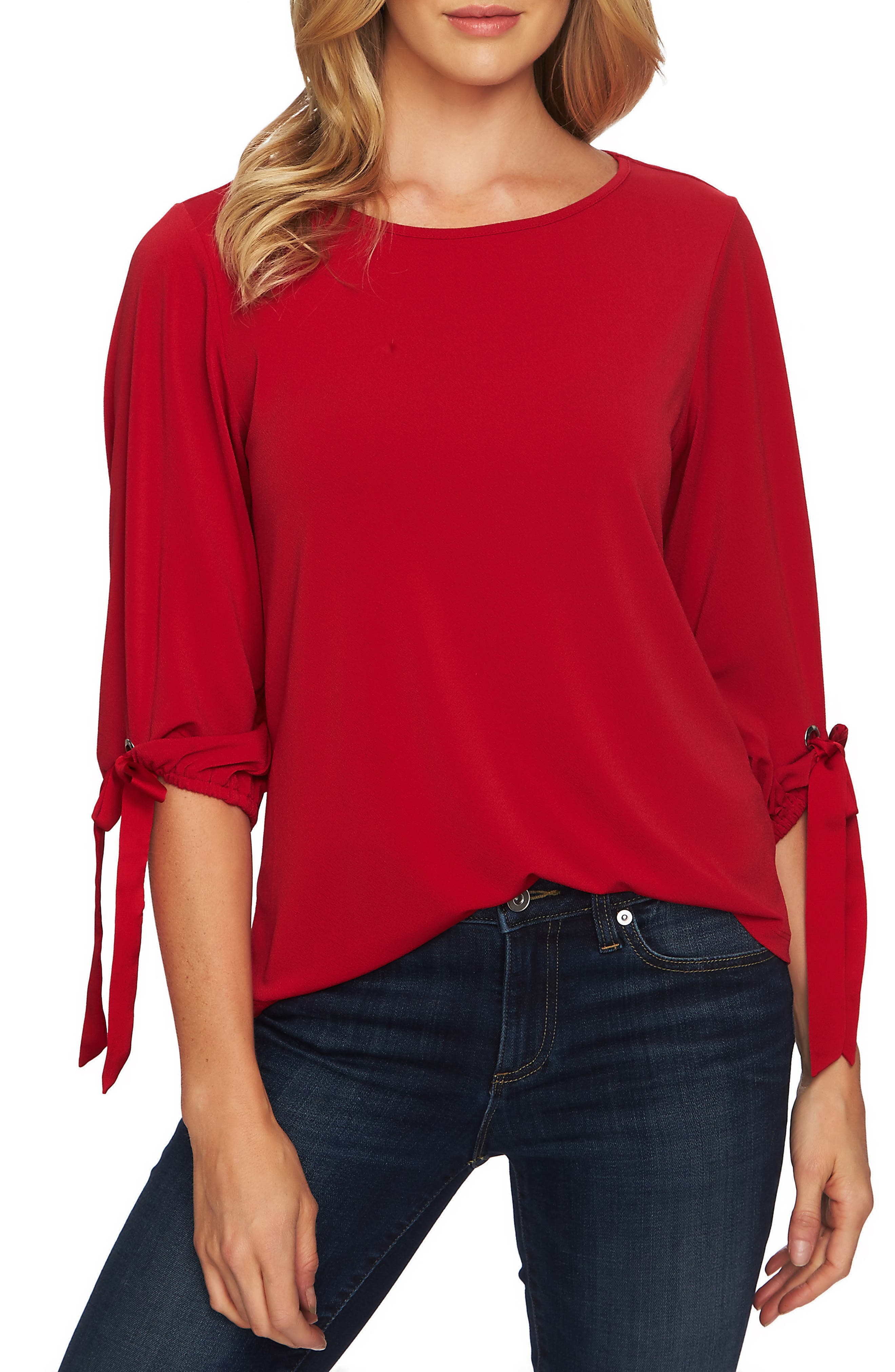 Tie Sleeve Top,                         Main,                         color, RIBBON RED