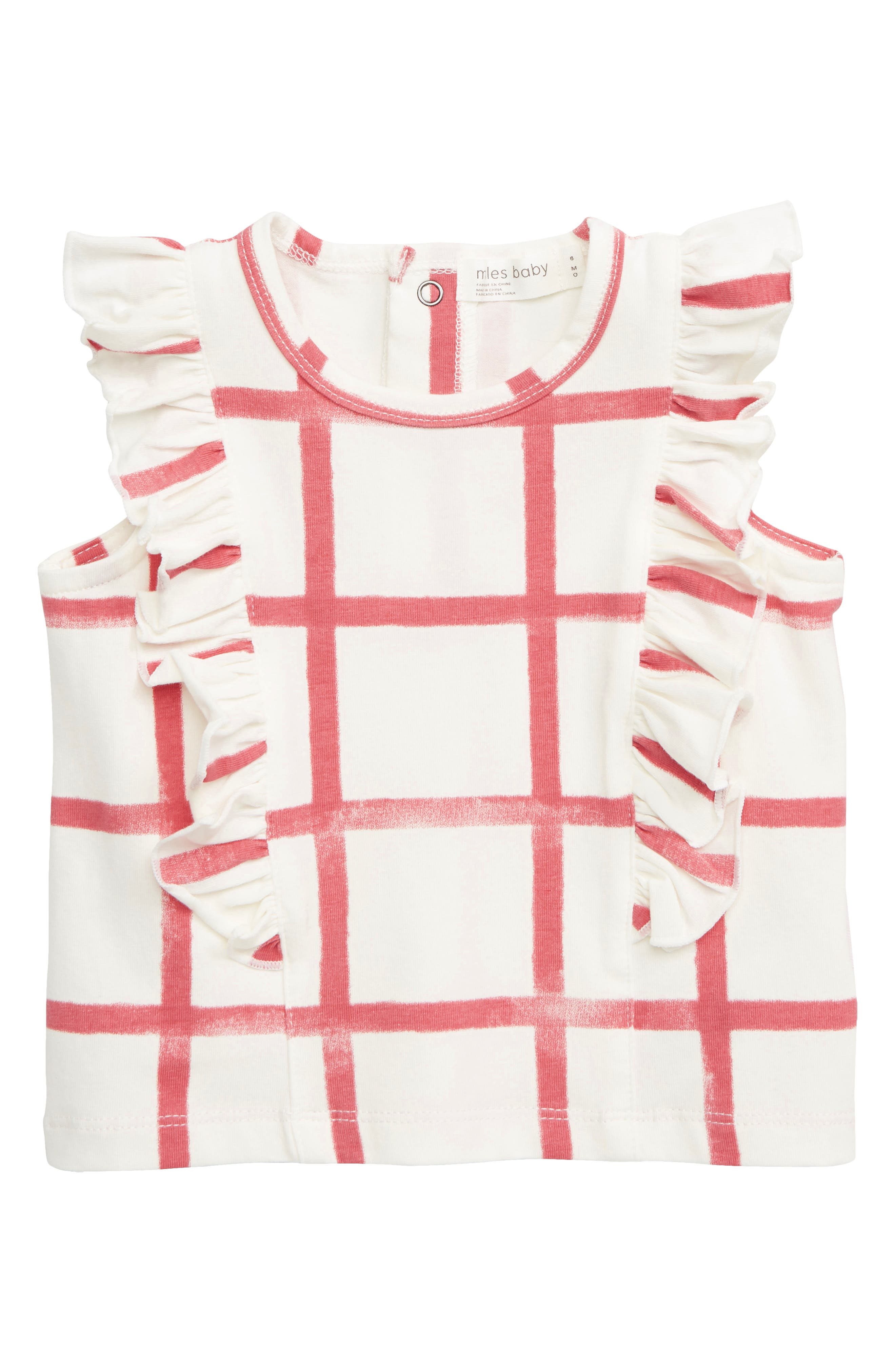 Infant Girls Miles Baby Check Flutter Top Size 3M  Ivory