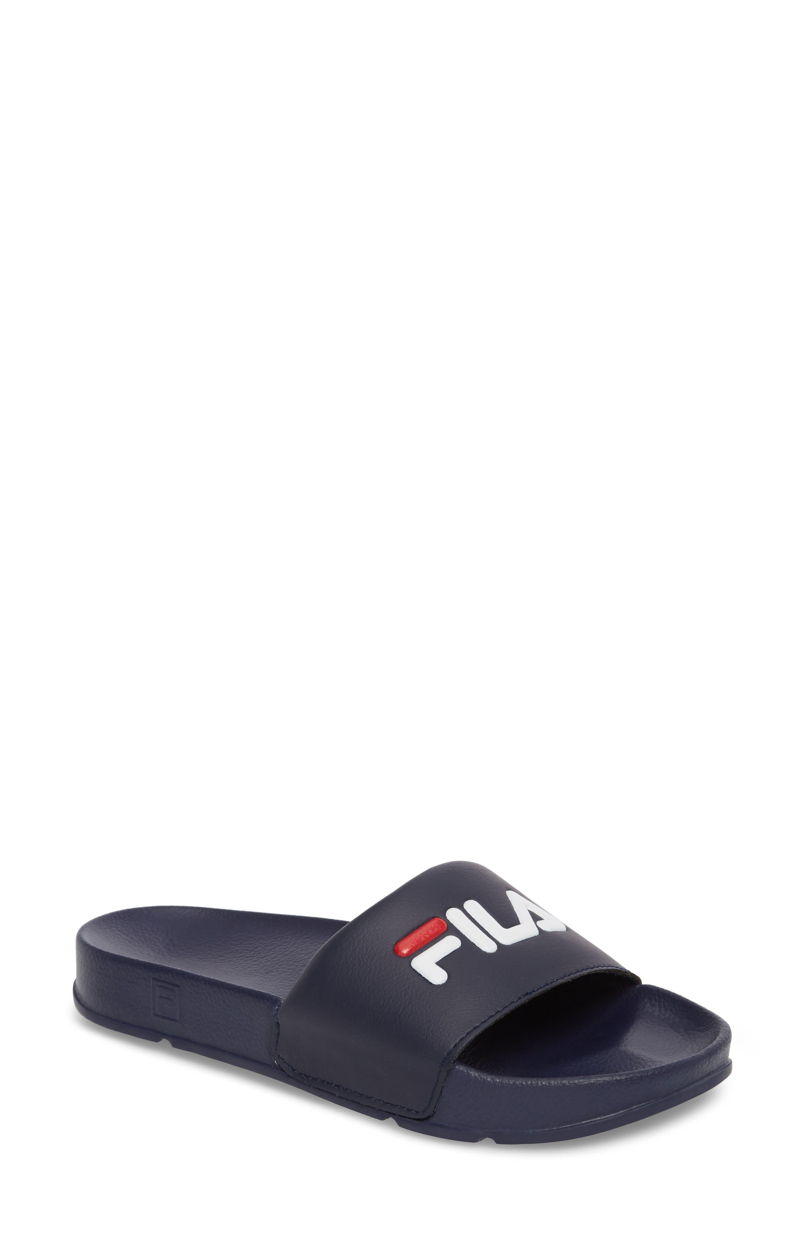 Slide Sandal,                             Main thumbnail 1, color,                             NAVY/ RED/ WHITE