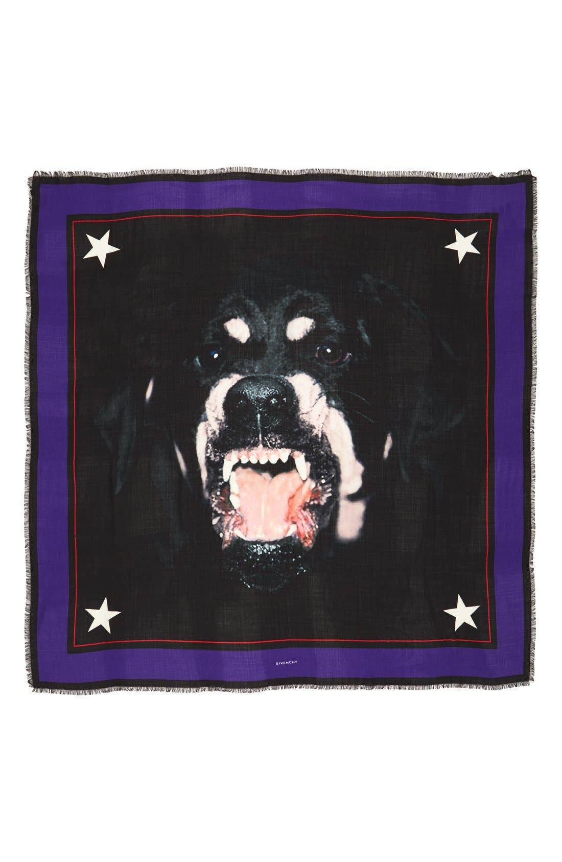 'Rottweiler' Silk Blend Scarf,                             Alternate thumbnail 15, color,