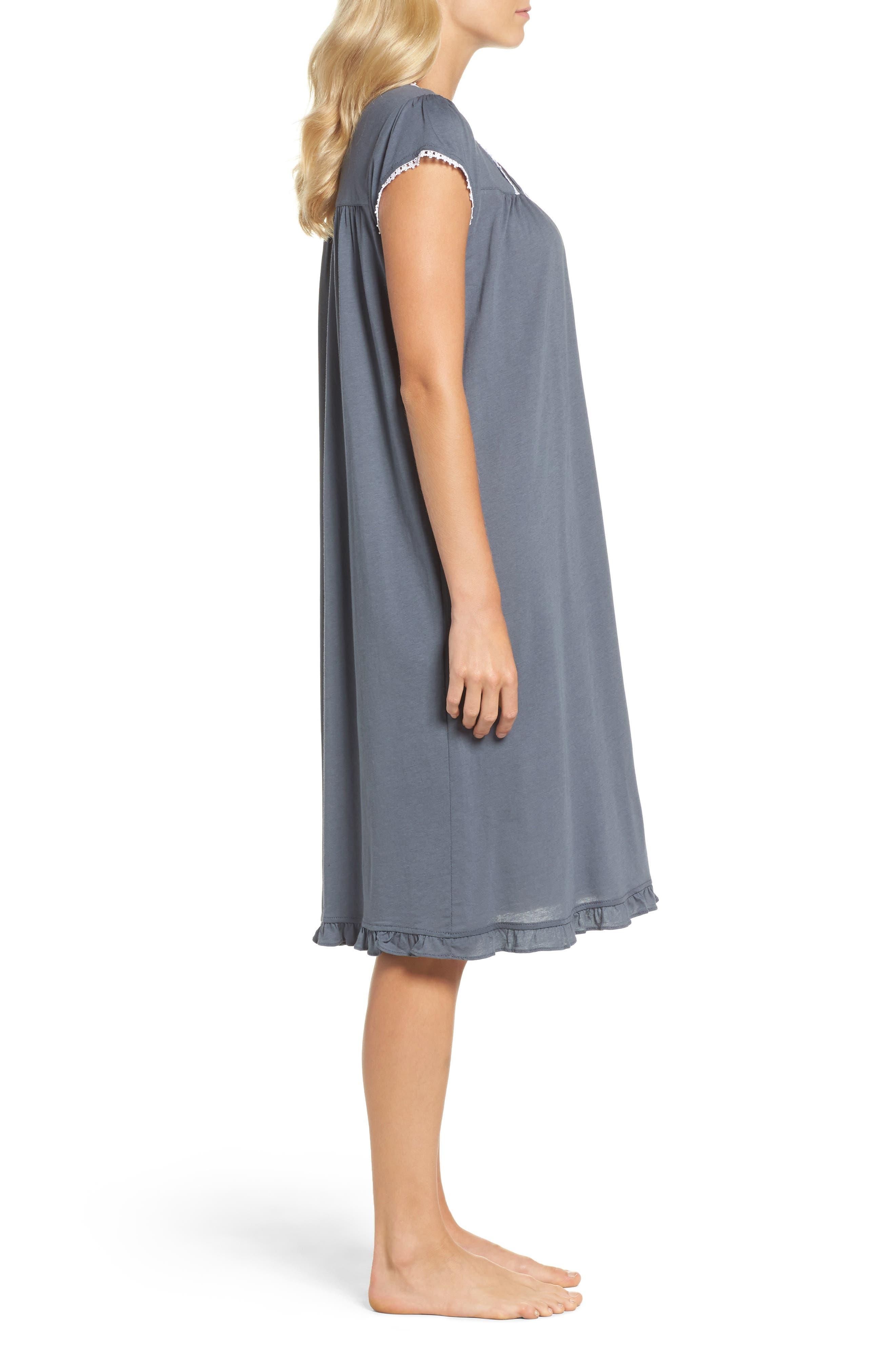 Cotton & Modal Waltz Nightgown,                             Alternate thumbnail 3, color,                             001