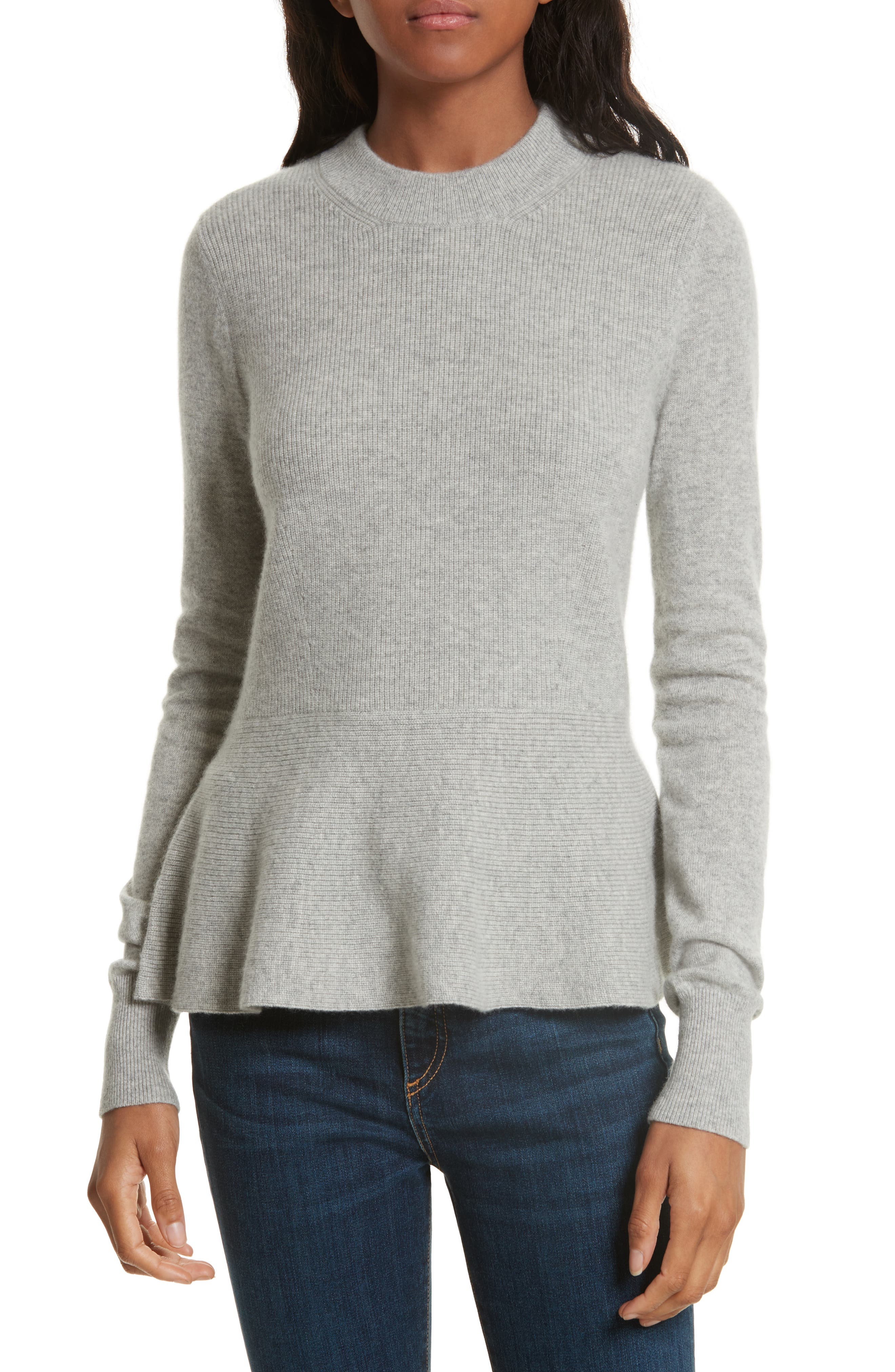 Raleigh Cashmere Peplum Sweater,                             Main thumbnail 2, color,