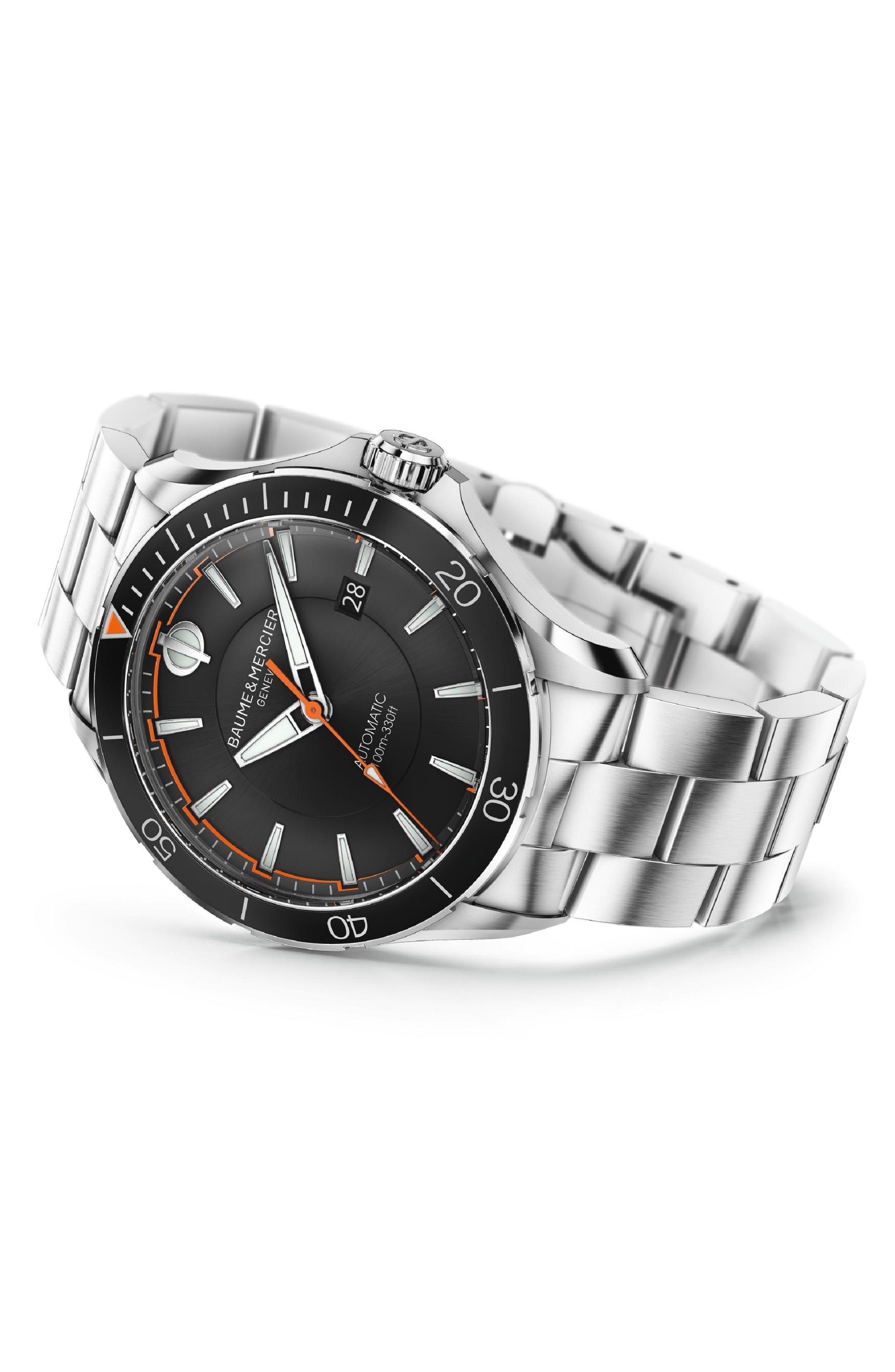 Clifton Automatic Bracelet Watch, 42mm,                             Alternate thumbnail 3, color,                             BLACK/ SILVER