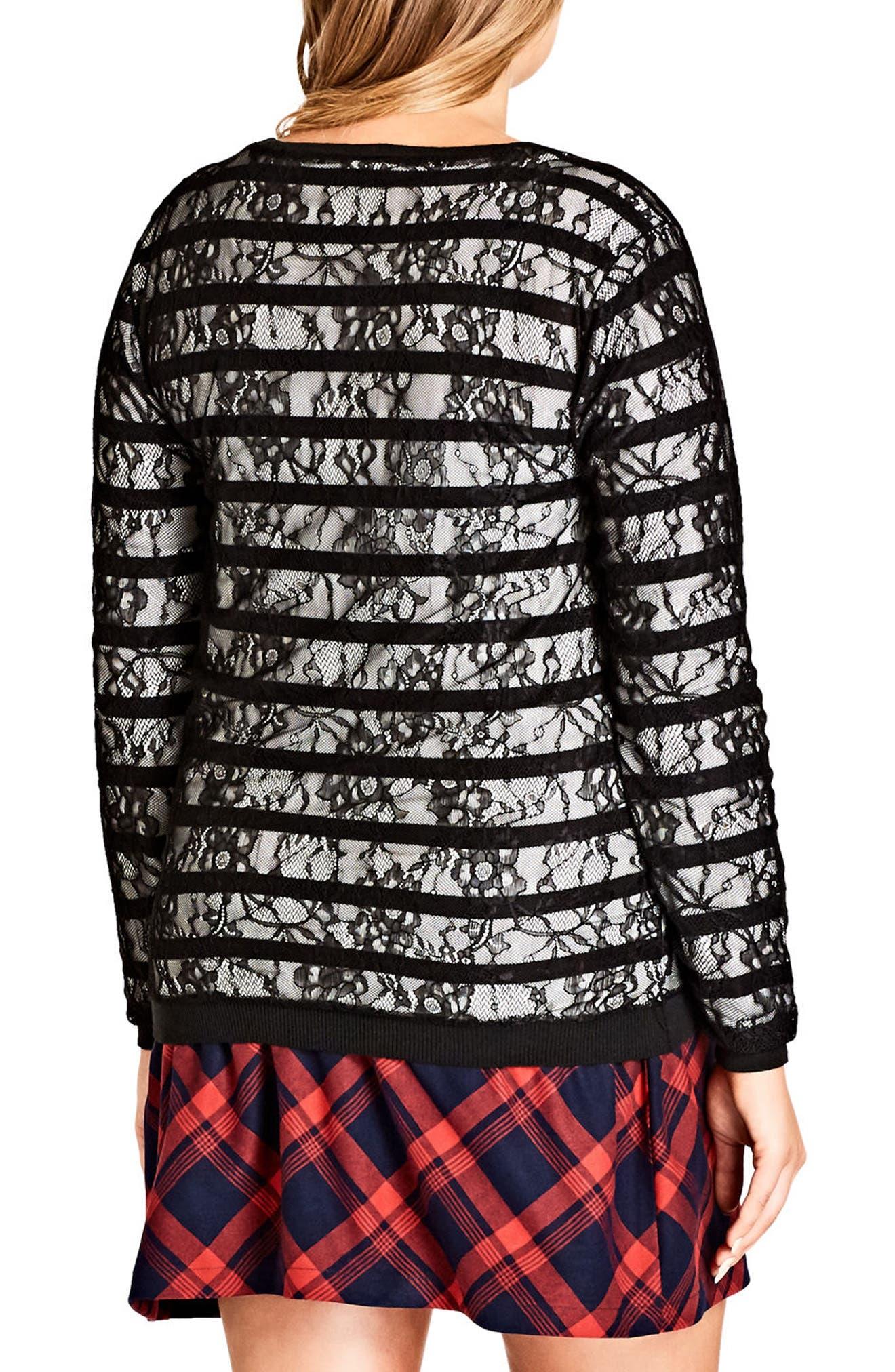 Lace Stripe Sweater,                             Alternate thumbnail 2, color,                             001