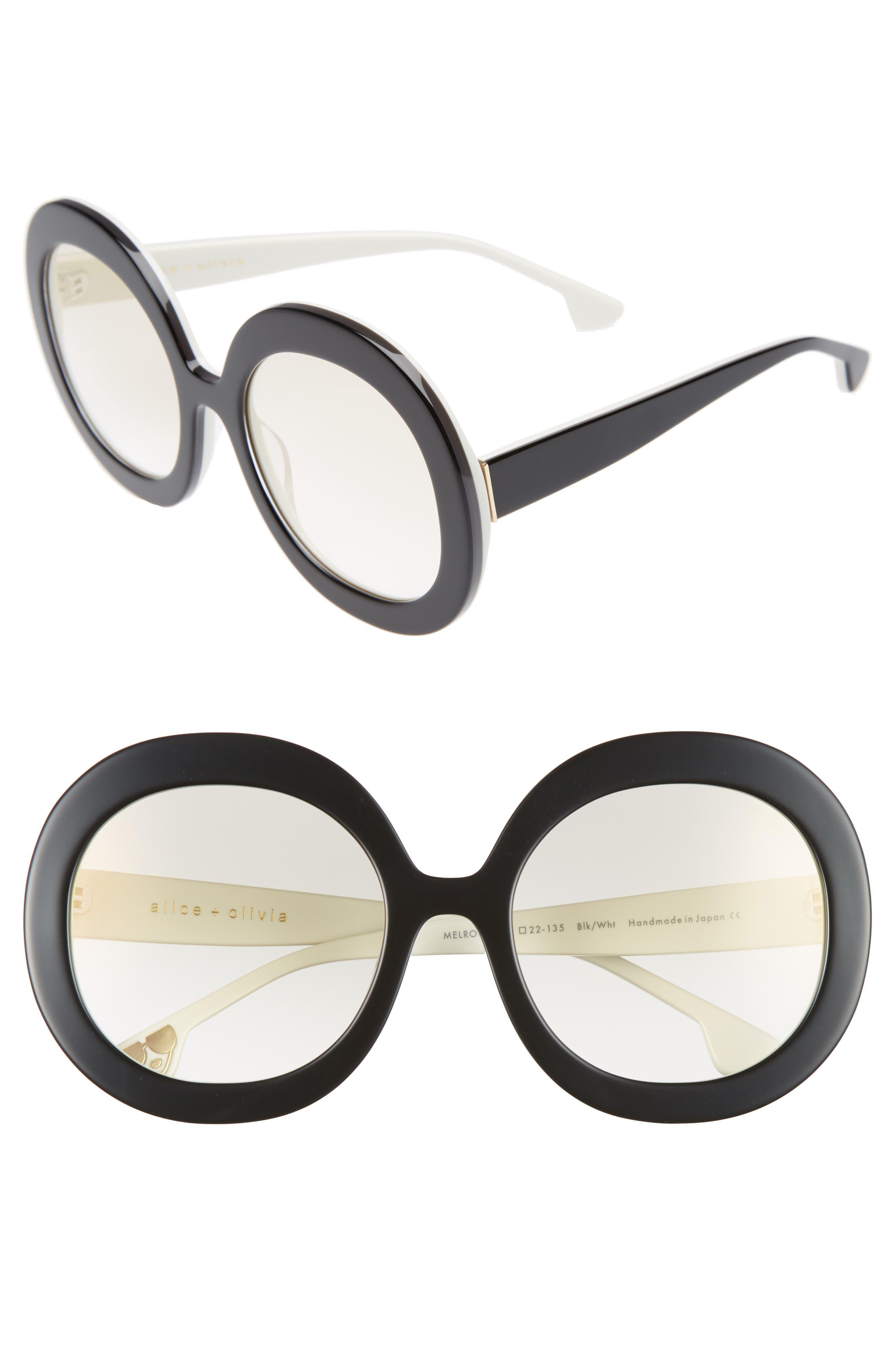 Melrose 56mm Round Sunglasses,                         Main,                         color, 001