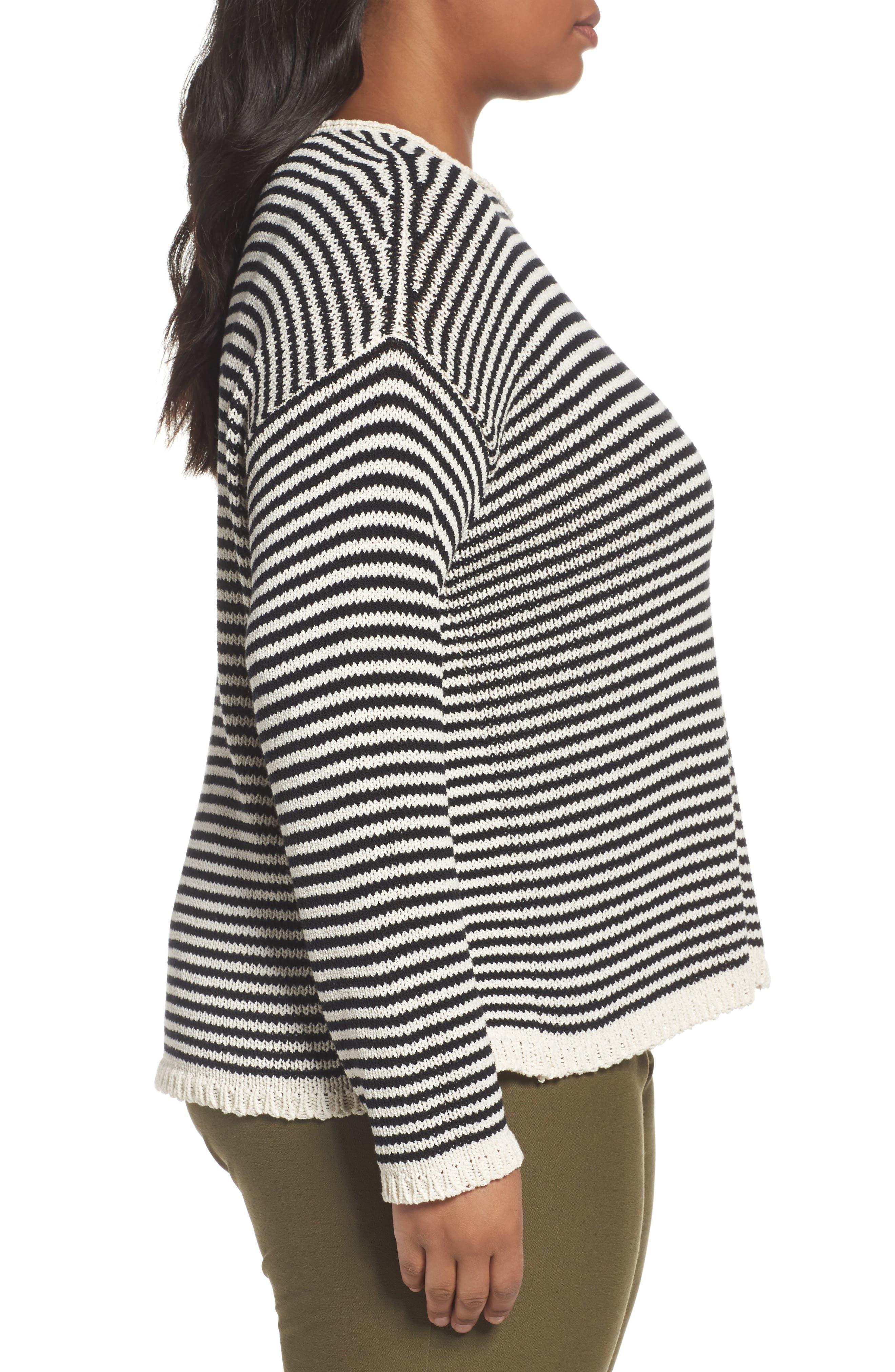 Stripe Cotton Blend Knit Top,                             Alternate thumbnail 3, color,                             001