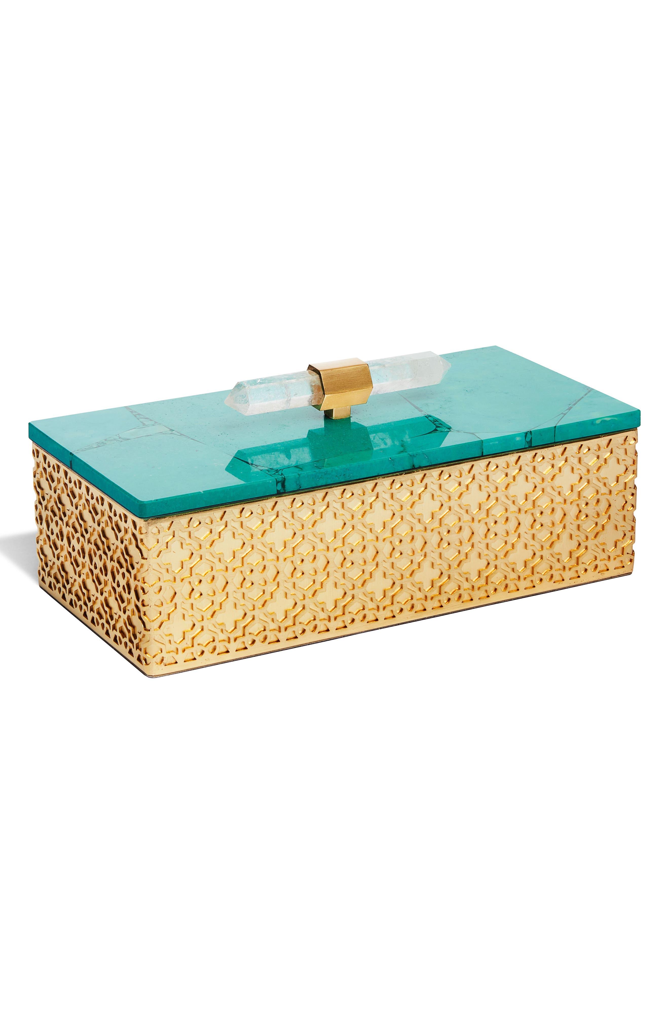 Rectangle Filigree Box,                         Main,                         color, VARIEGATED TEAL