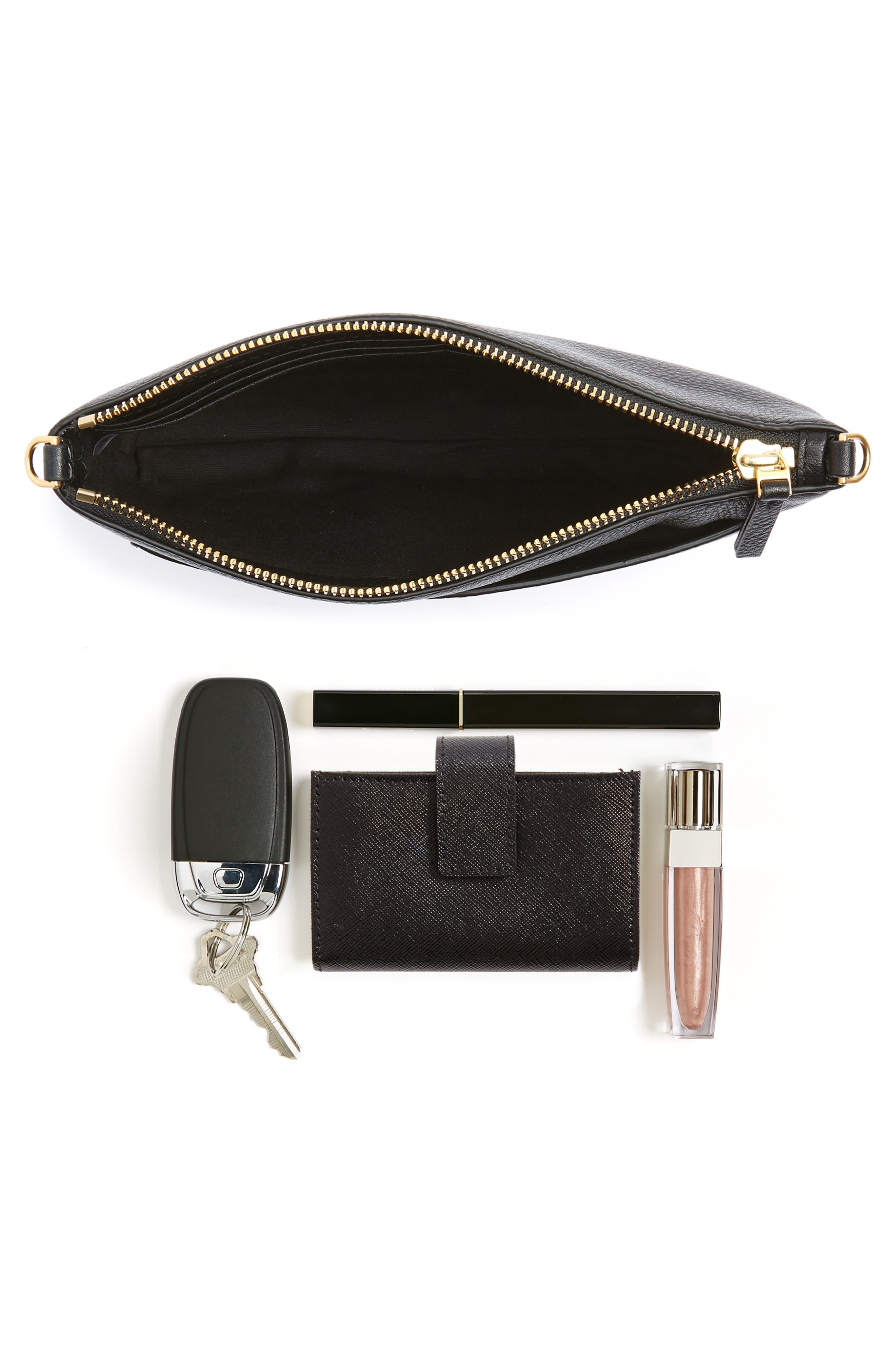 Tassel Leather Crossbody Bag,                             Alternate thumbnail 7, color,                             BLACK