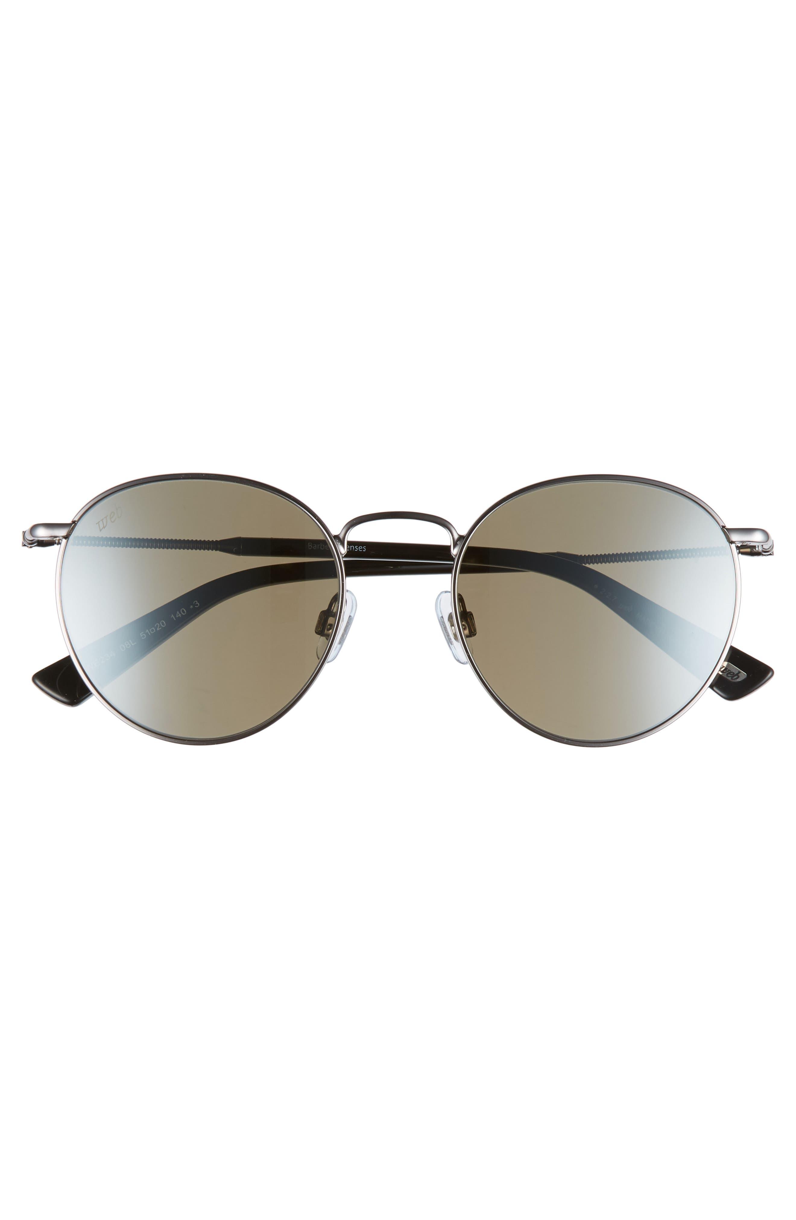 51mm Round Metal Sunglasses,                             Alternate thumbnail 3, color,                             SHINY GUNMETAL/ ROVIEX MIRROR