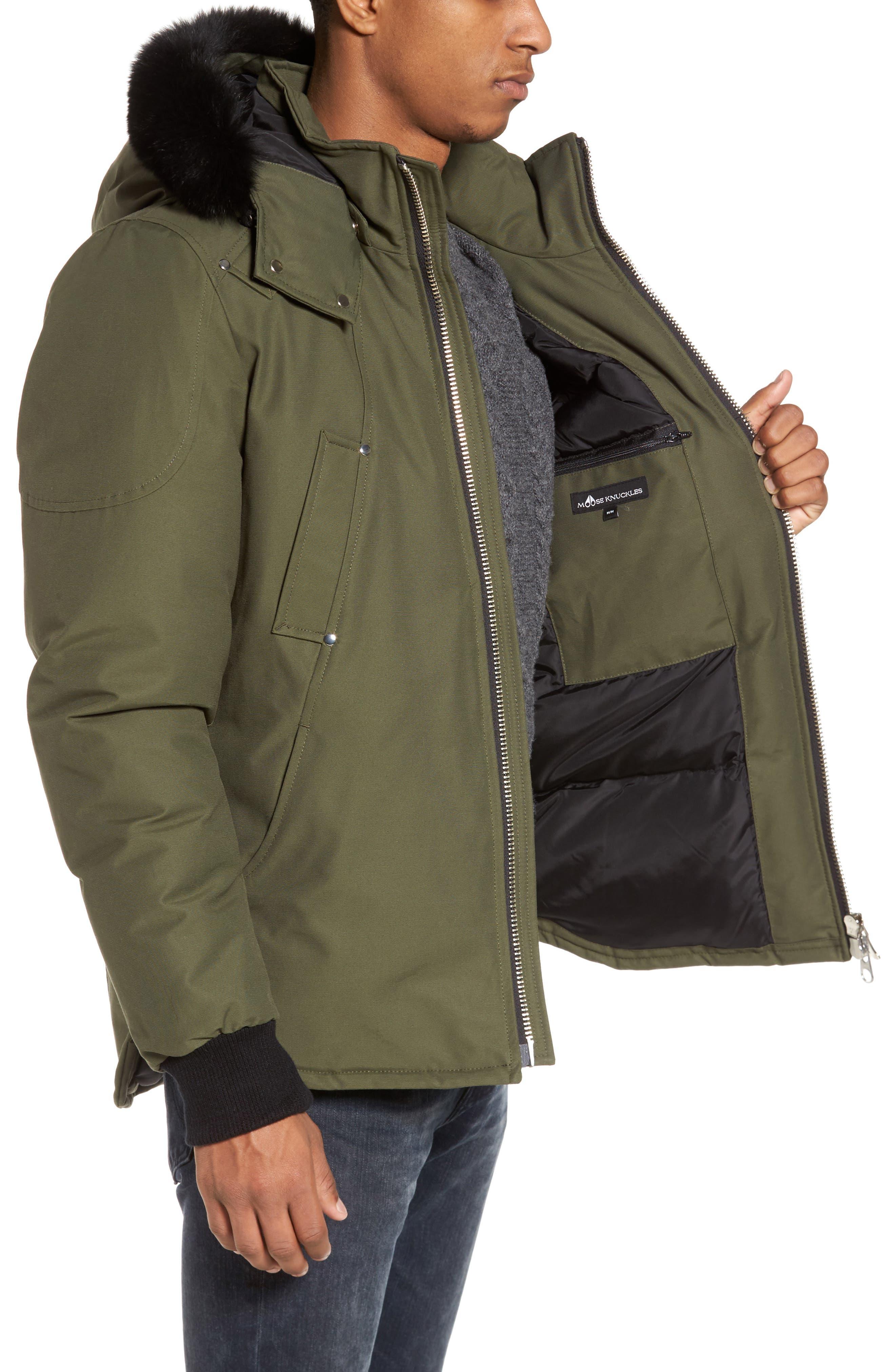 Down Coat with Genuine Fox Fur Trim,                             Alternate thumbnail 3, color,                             300