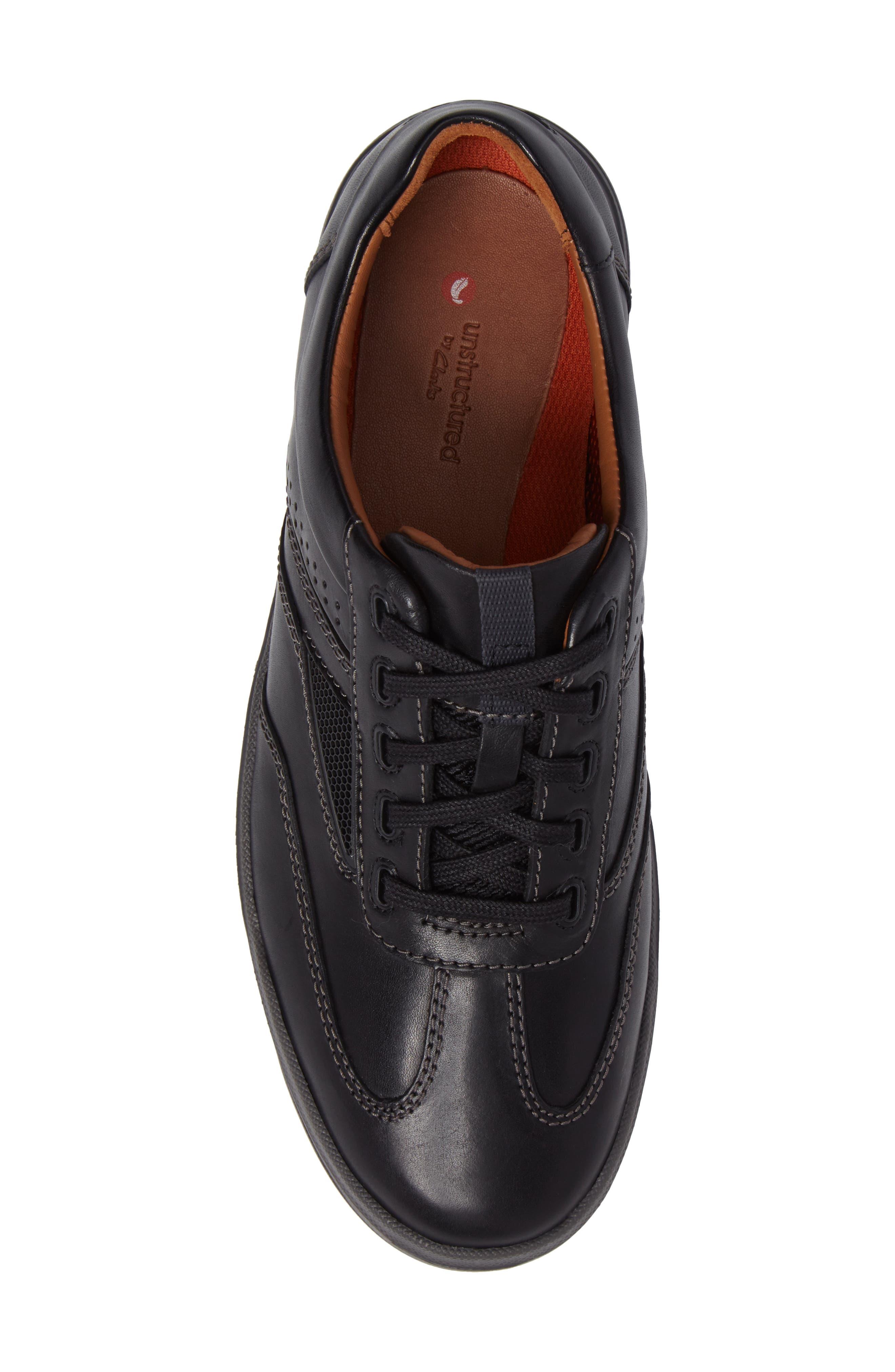 Un.Rhombus Fly Sneaker,                             Alternate thumbnail 5, color,                             BLACK LEATHER