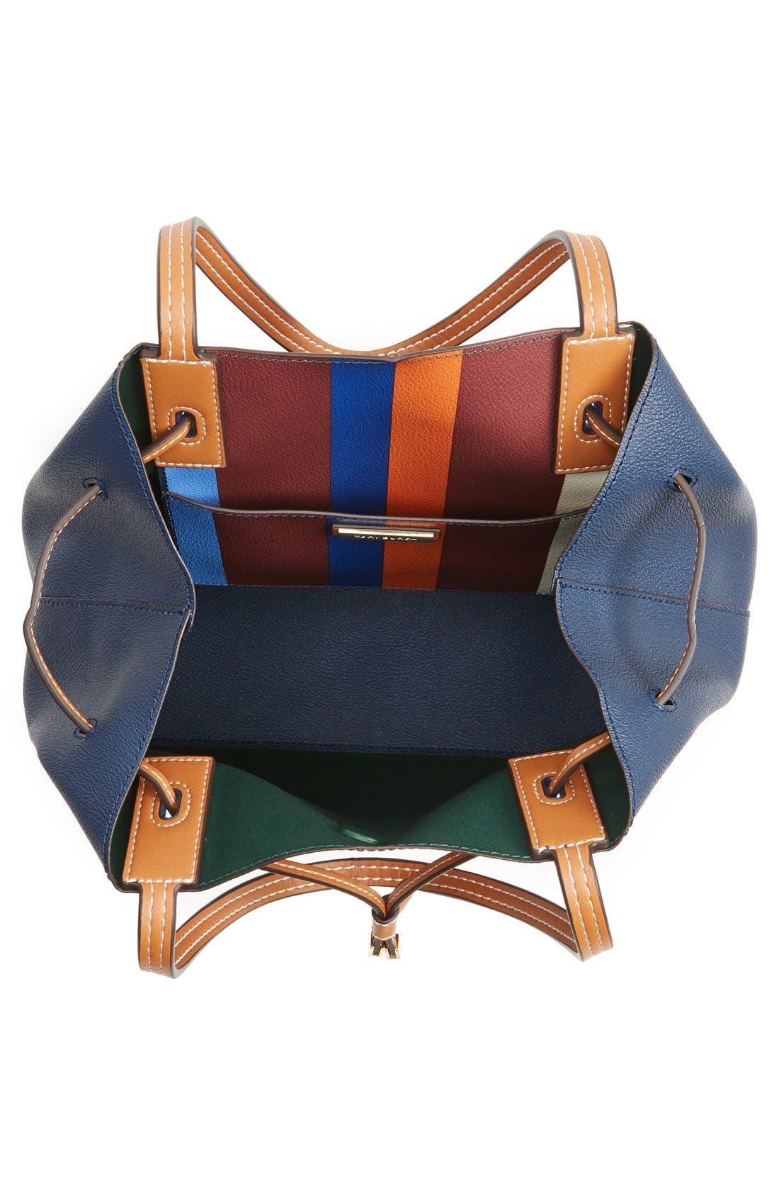 'Kerrington' Stripe Faux Leather Tote,                             Alternate thumbnail 5, color,                             466