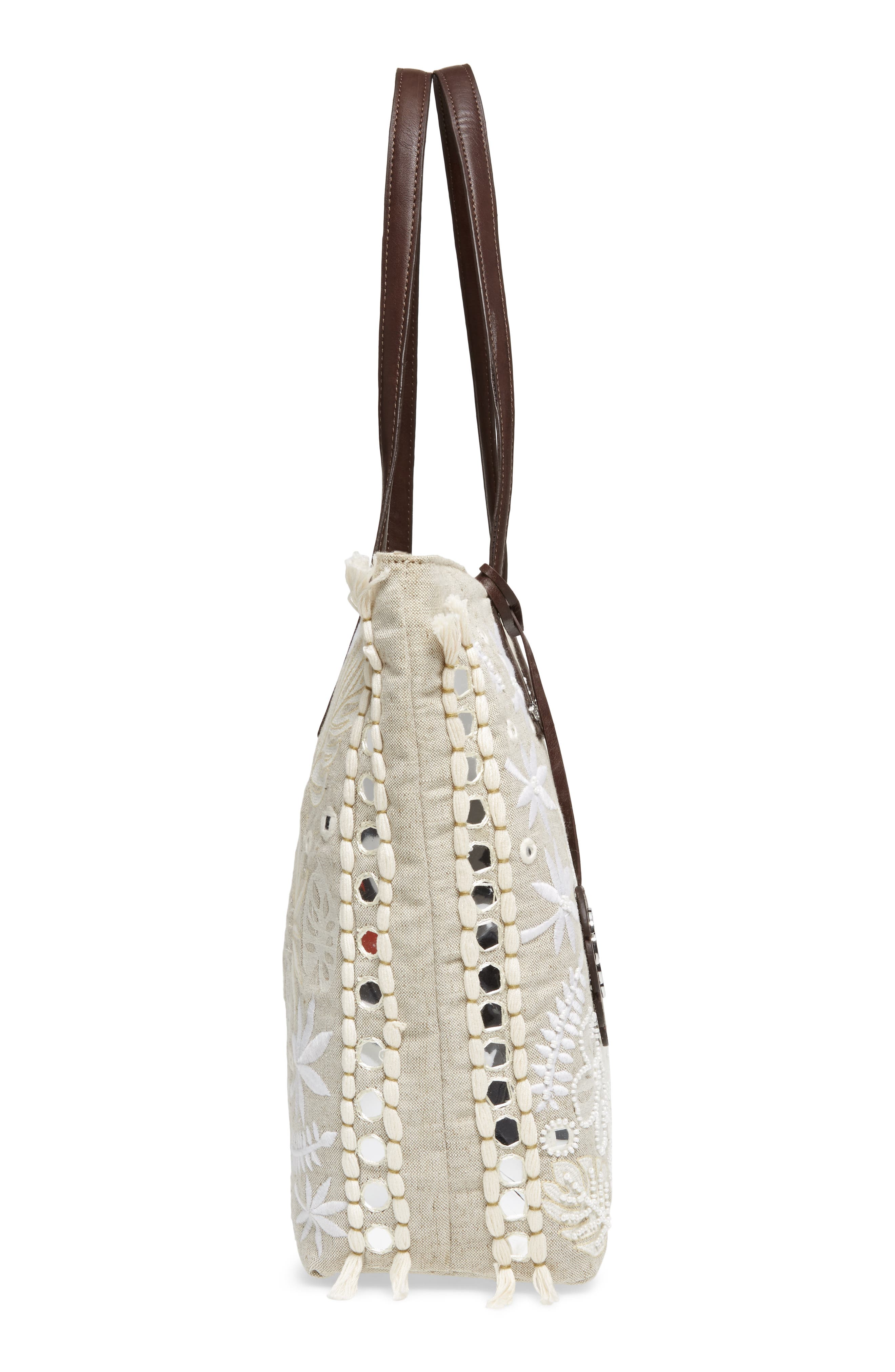 Belize Embroidered Canvas Tote,                             Alternate thumbnail 5, color,                             250