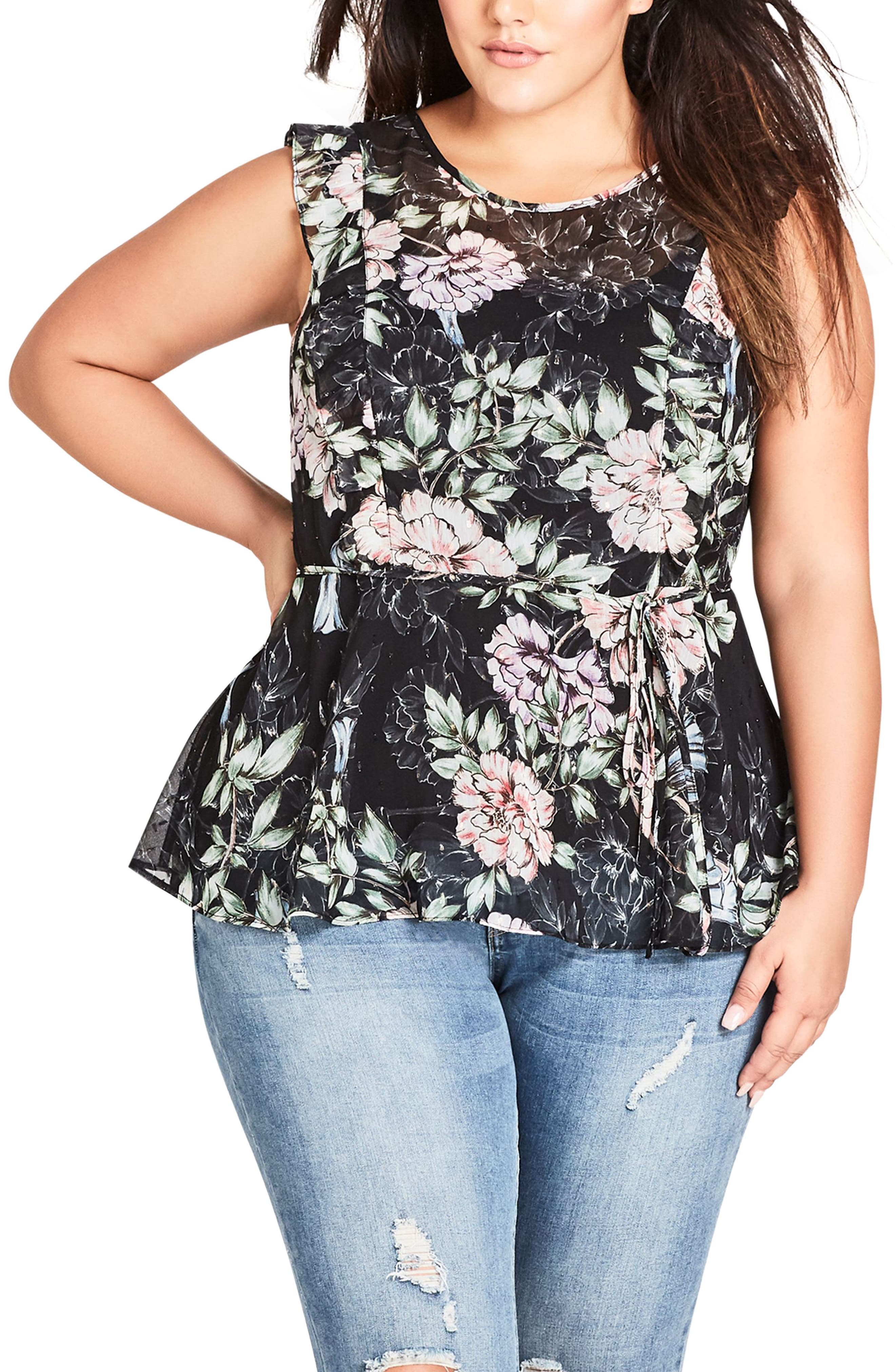 CITY CHIC,                             Delicate Blossom Top,                             Main thumbnail 1, color,                             001