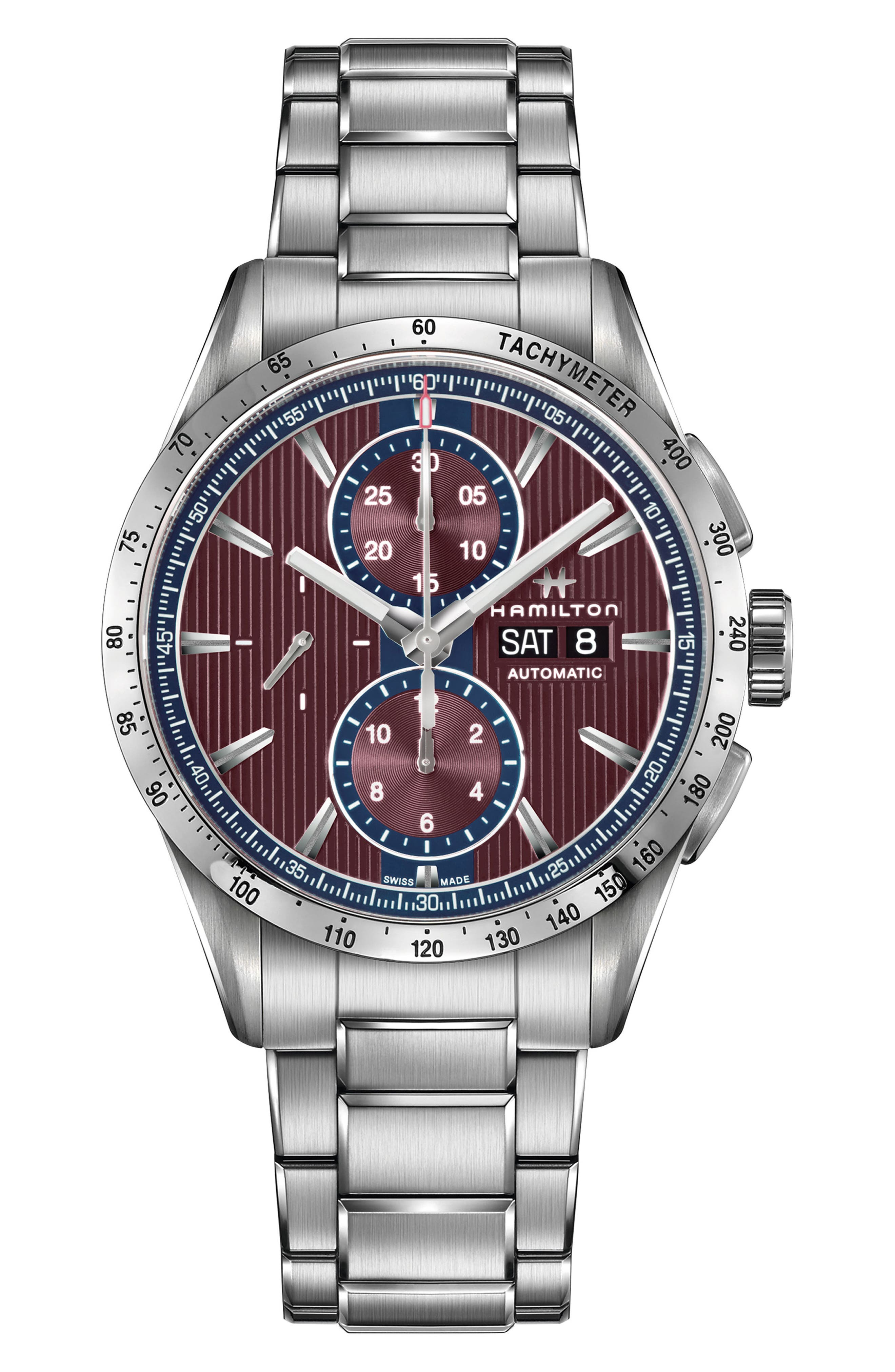 Broadway Automatic Chronograph Bracelet Watch, 43mm,                             Main thumbnail 1, color,                             SILVER/ RED/ SILVER