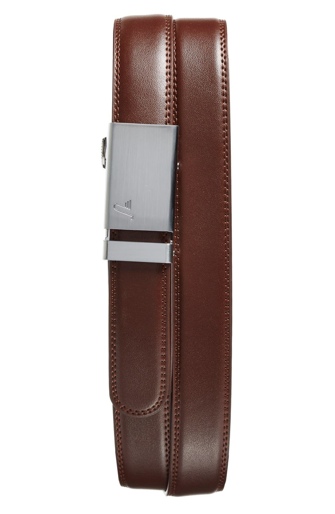 'Cocoa' Leather Belt,                             Main thumbnail 1, color,                             ALLOY/ BROWN
