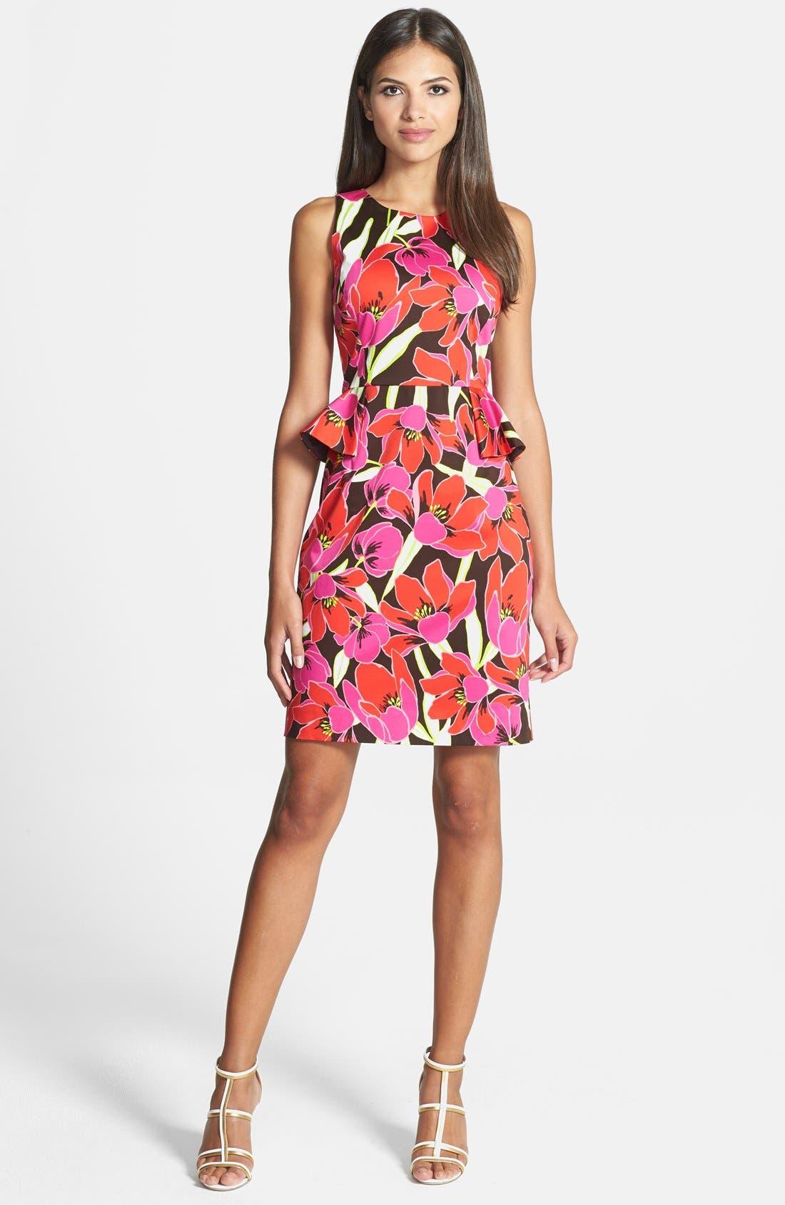 KATE SPADE NEW YORK tropical print peplum sheath dress, Main, color, 650