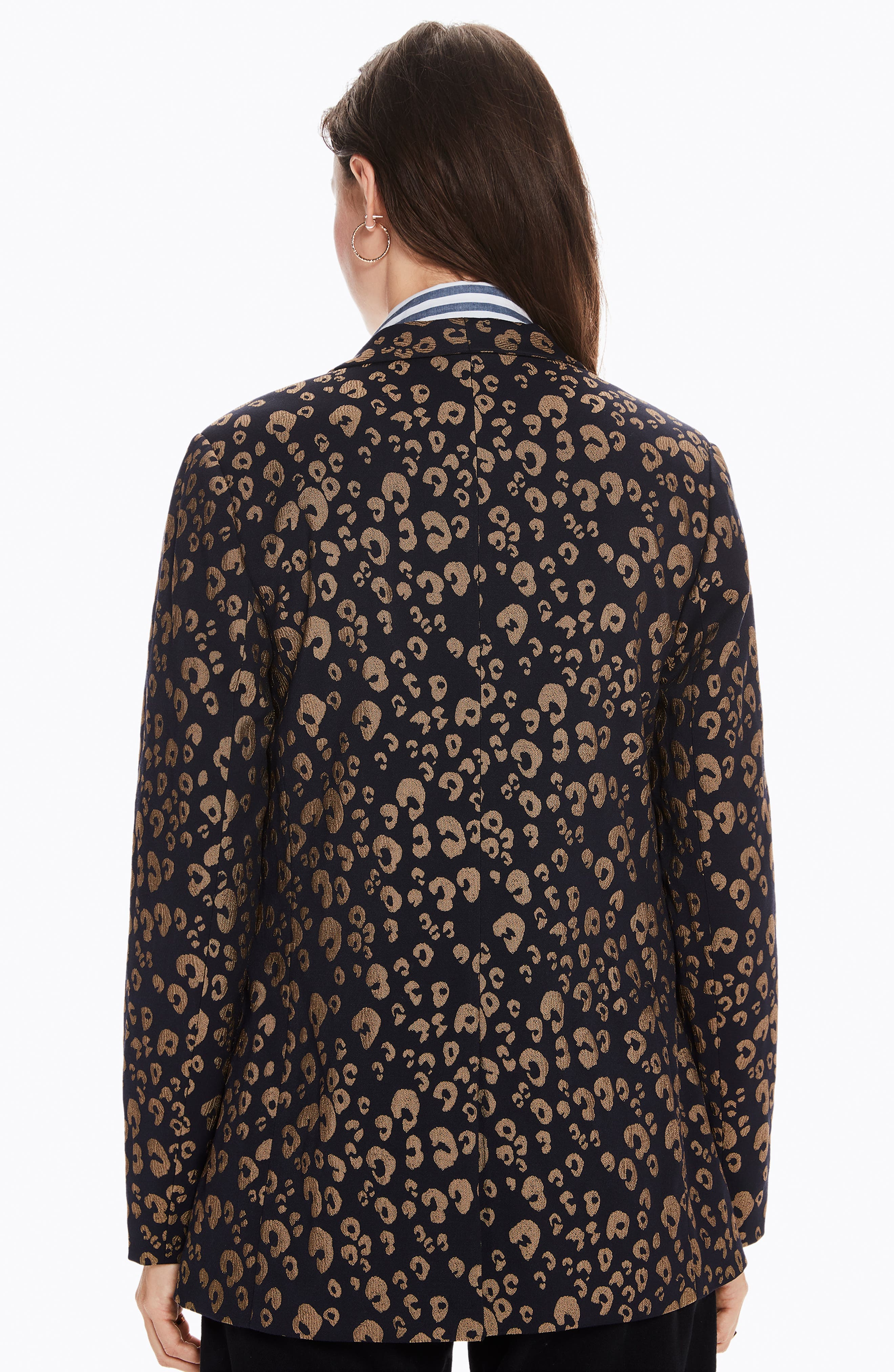 Stretch Jacquard Tailored Blazer,                             Alternate thumbnail 9, color,                             NAVY W/ GOLD LEOPARD PRINT