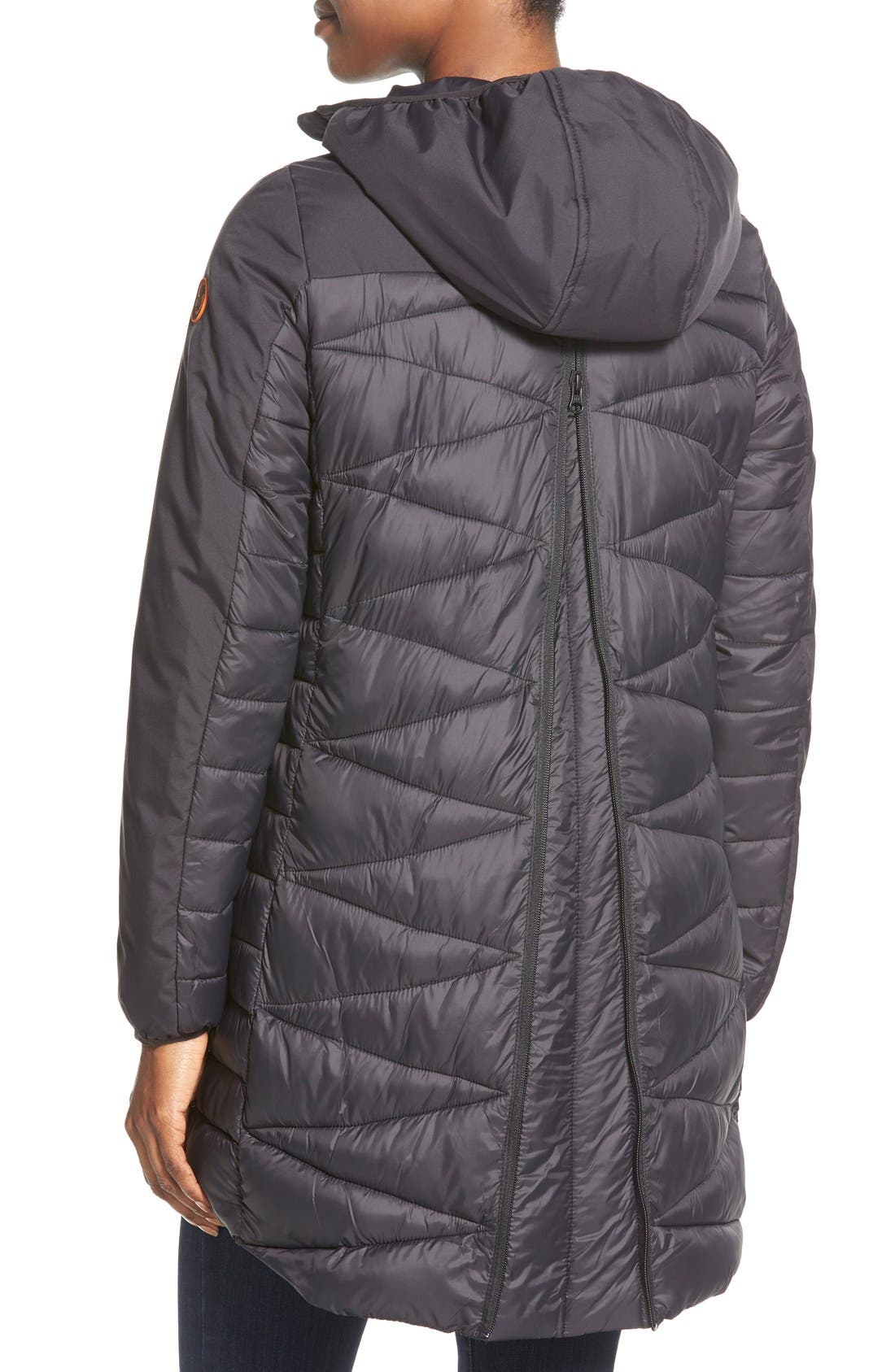 Zip Back Zigzag Quilted Jacket,                             Alternate thumbnail 4, color,                             001