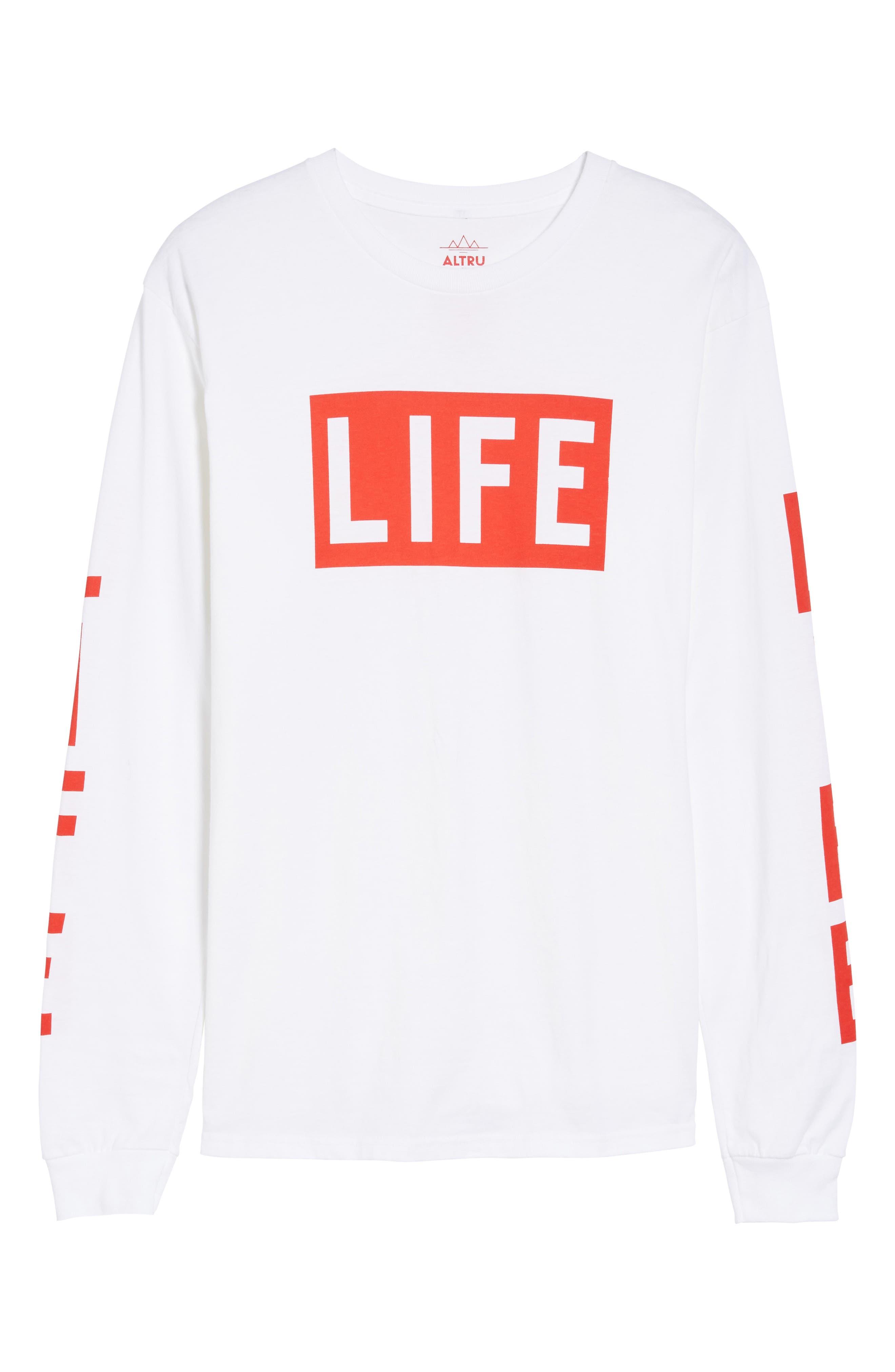 Life Logo Long Sleeve T-Shirt,                             Alternate thumbnail 6, color,                             100