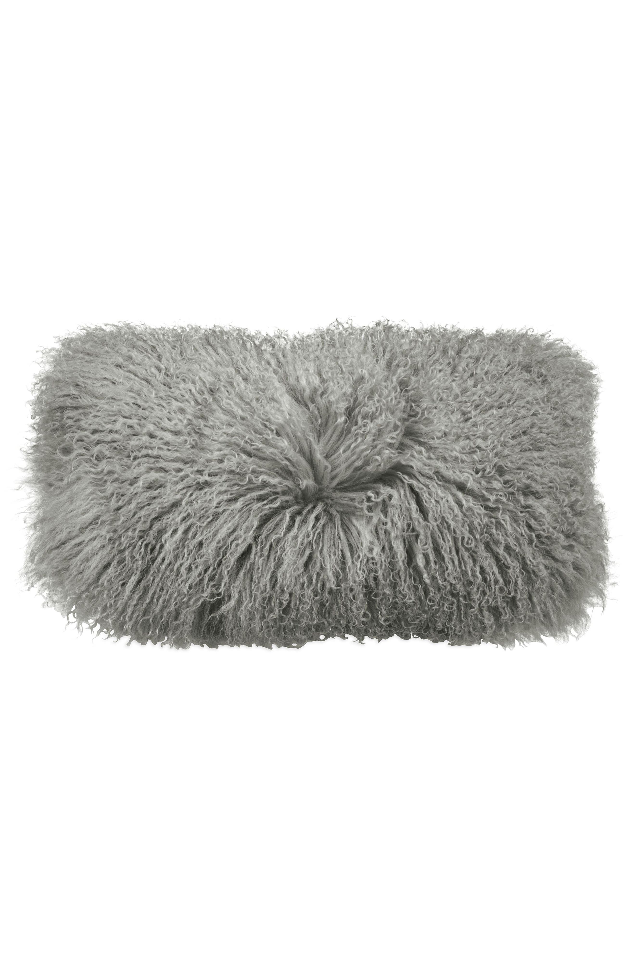 Donna Karan Collection Flokati Genuine Sheepskin Pillow,                             Alternate thumbnail 3, color,                             GREY