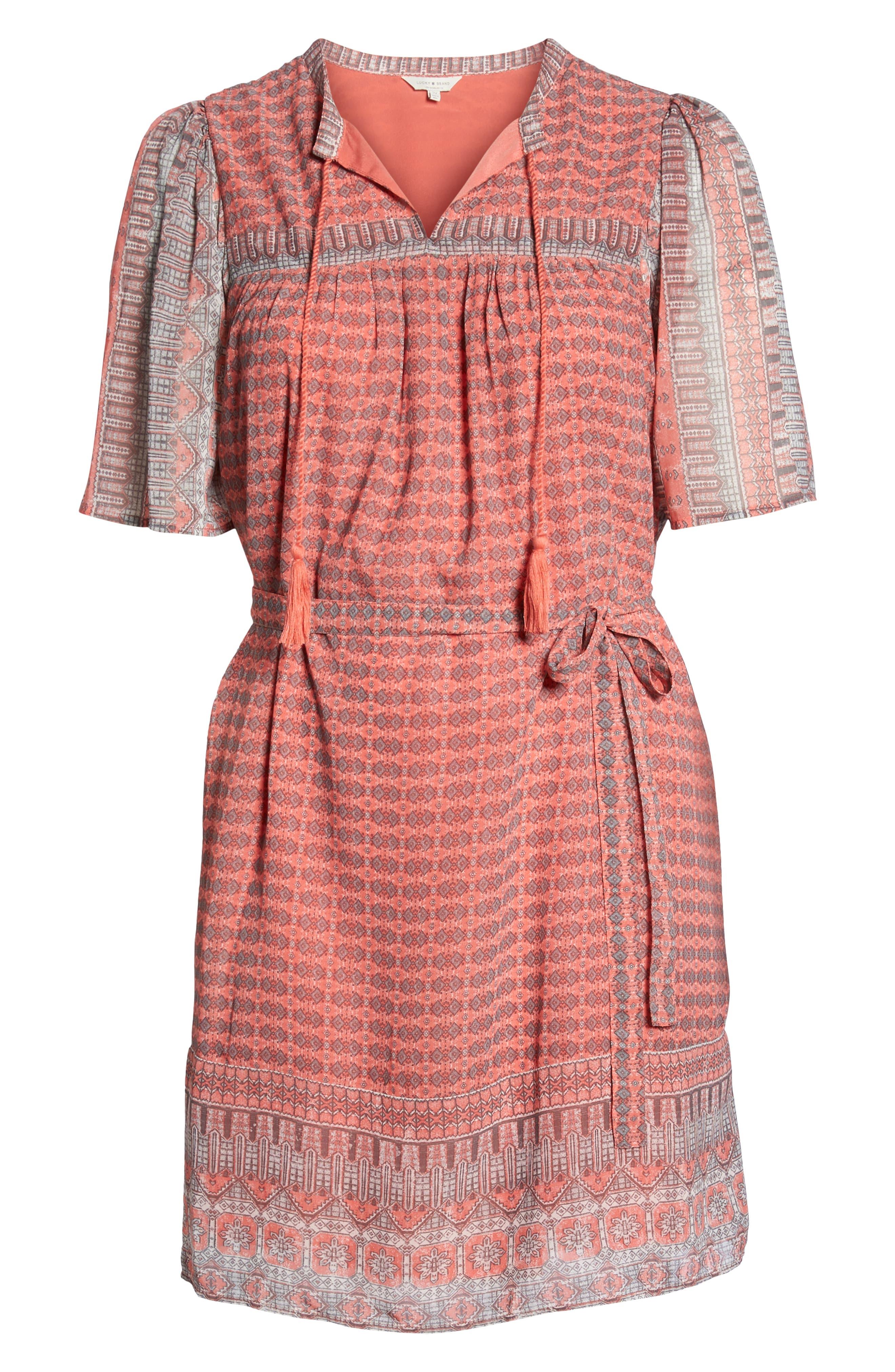 Jenna Print Peasant Dress,                             Alternate thumbnail 7, color,                             PINK MULTI