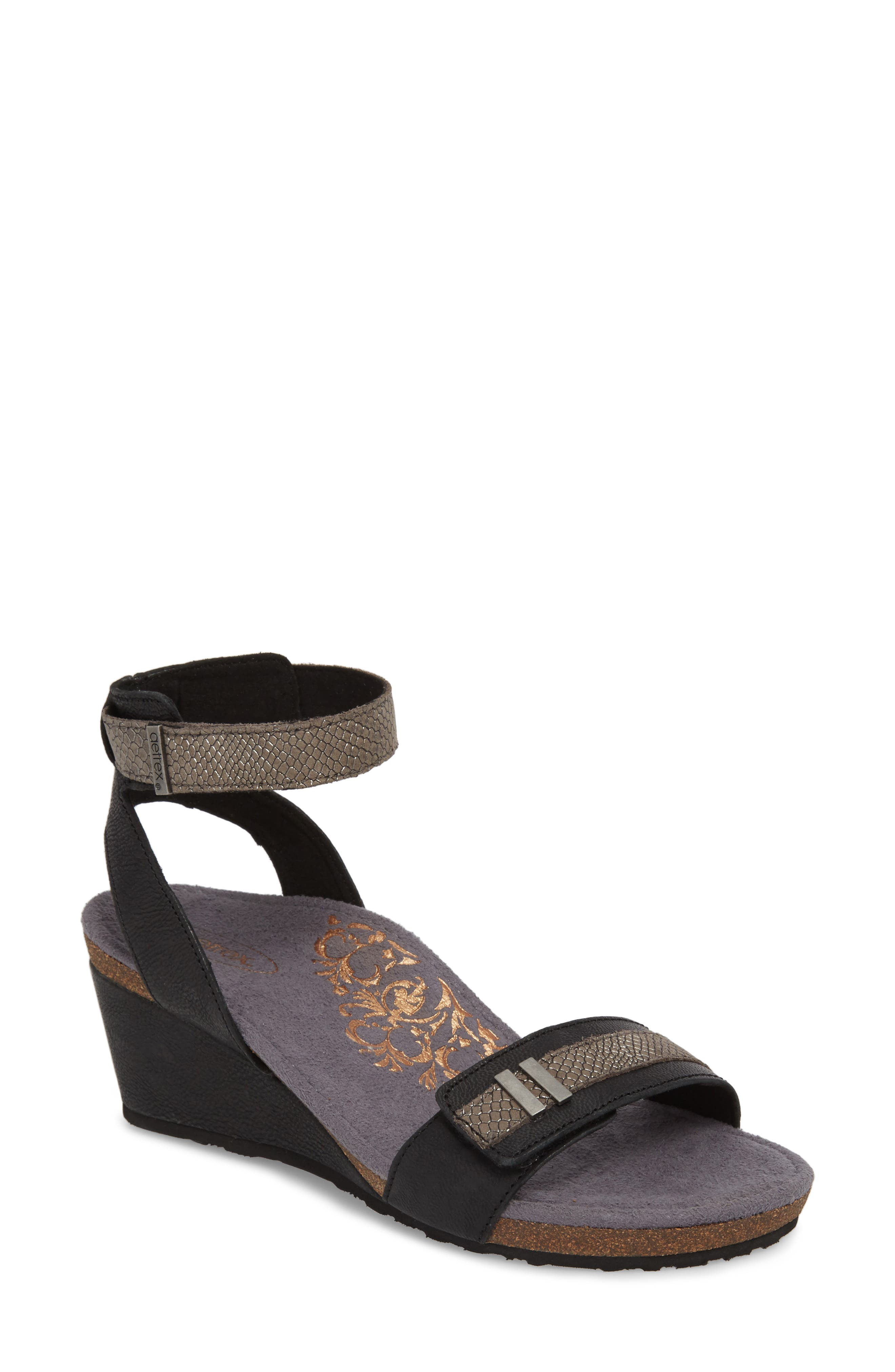 Gia Wedge Sandal,                         Main,                         color, BLACK LEATHER