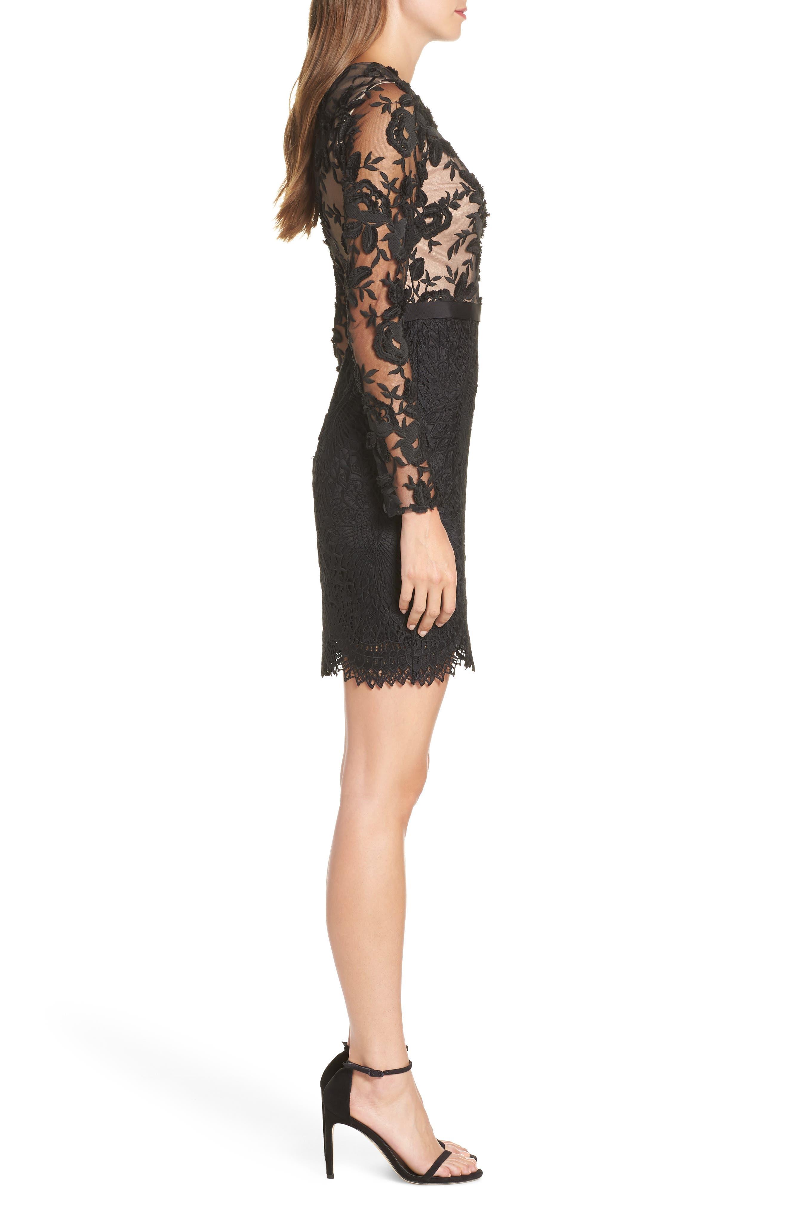 Calypso Lace Sheath Dress,                             Alternate thumbnail 3, color,                             BLACK/ NUDE