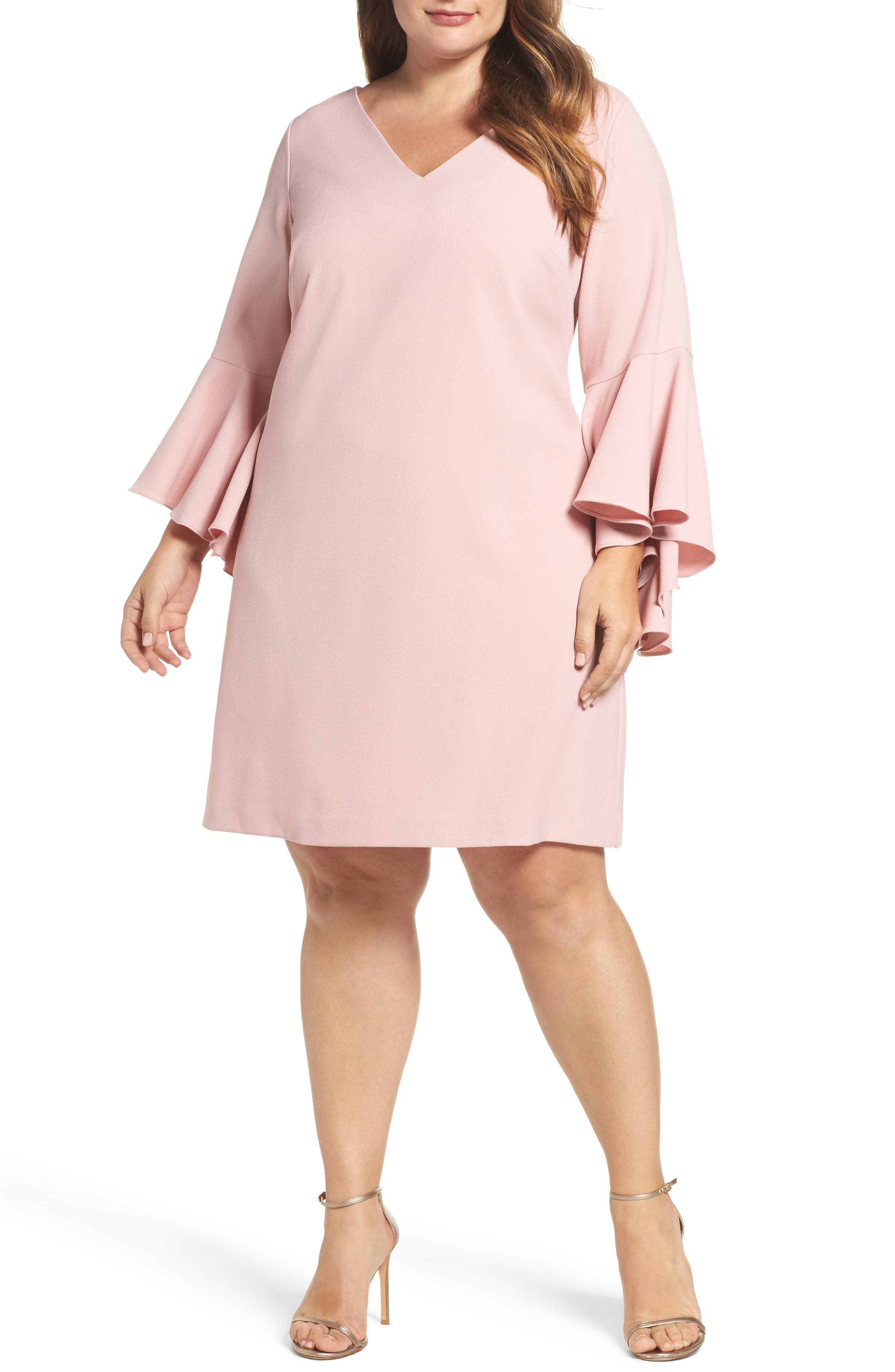 Bell Sleeve Crepe Shift Dress,                             Main thumbnail 2, color,