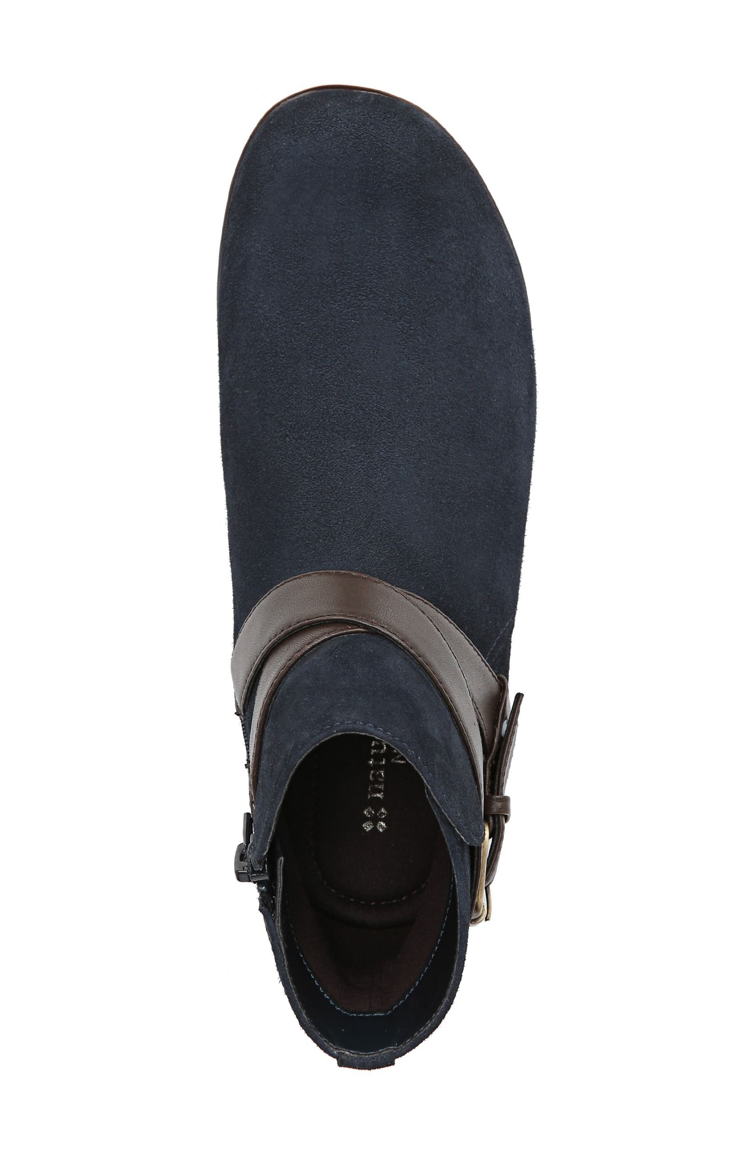 Cassandra Buckle Strap Bootie,                             Alternate thumbnail 5, color,                             NAVY/ BROWN SUEDE