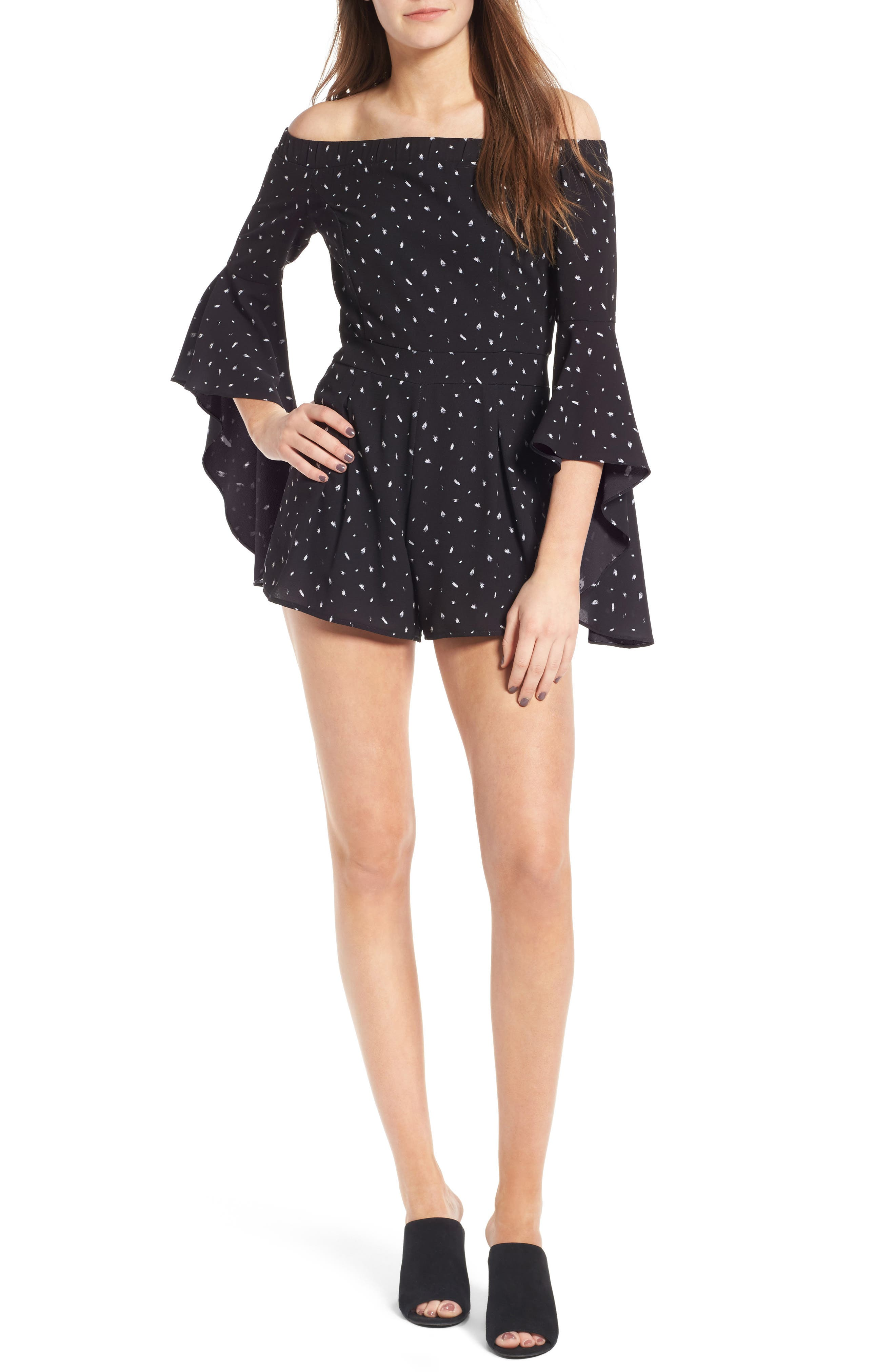 Off the Shoulder Bell Sleeve Romper,                             Main thumbnail 1, color,