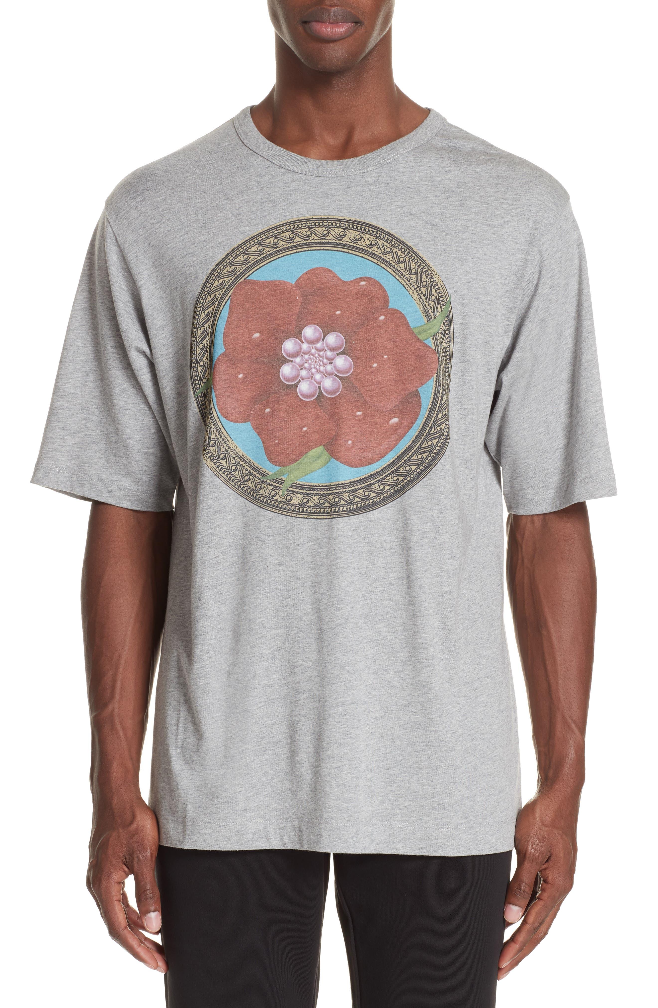 Flower Print T-Shirt,                         Main,                         color, GREY MEL