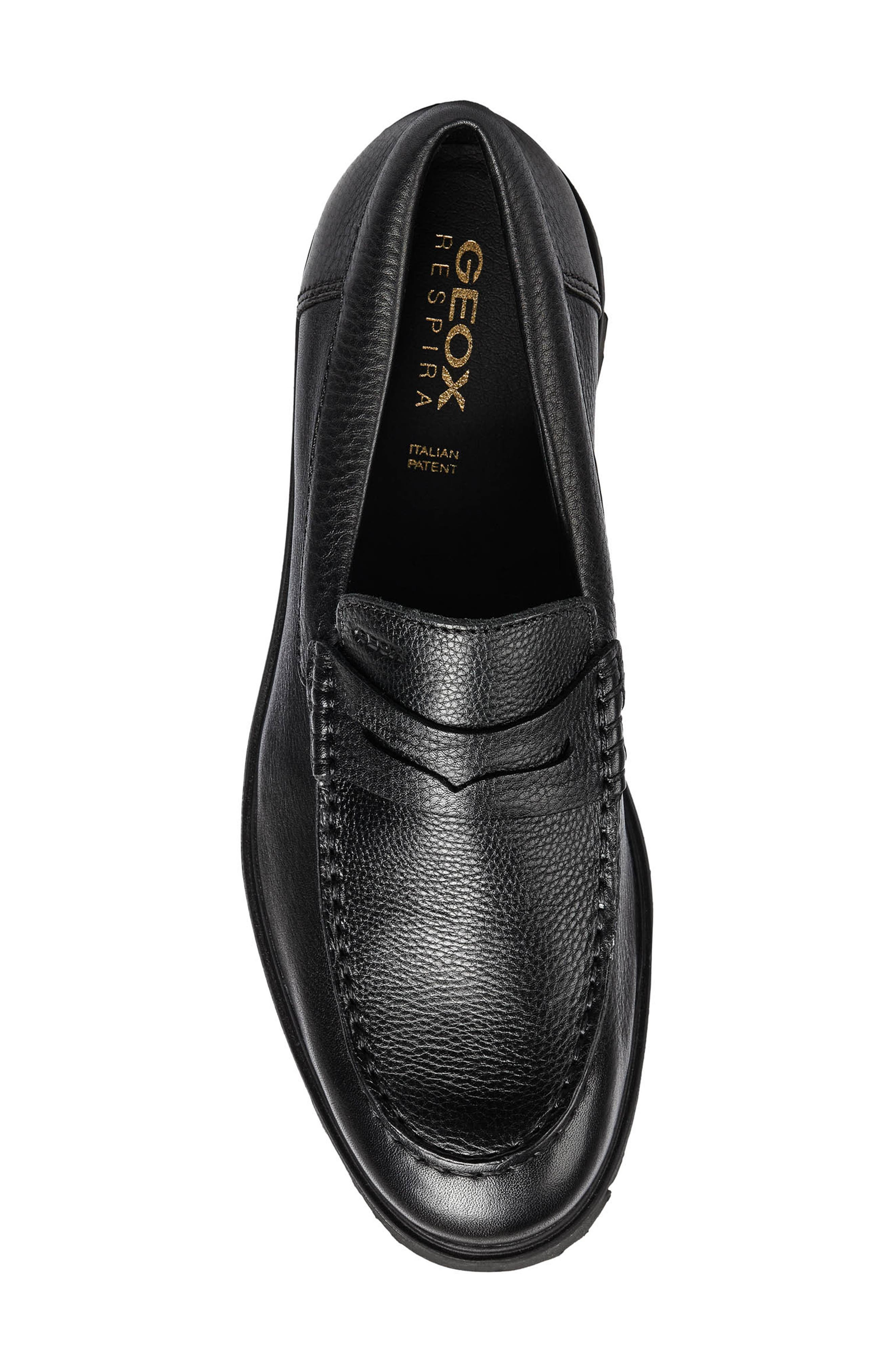 New Pluges 5 Penny Loafer,                             Alternate thumbnail 4, color,                             BLACK LEATHER