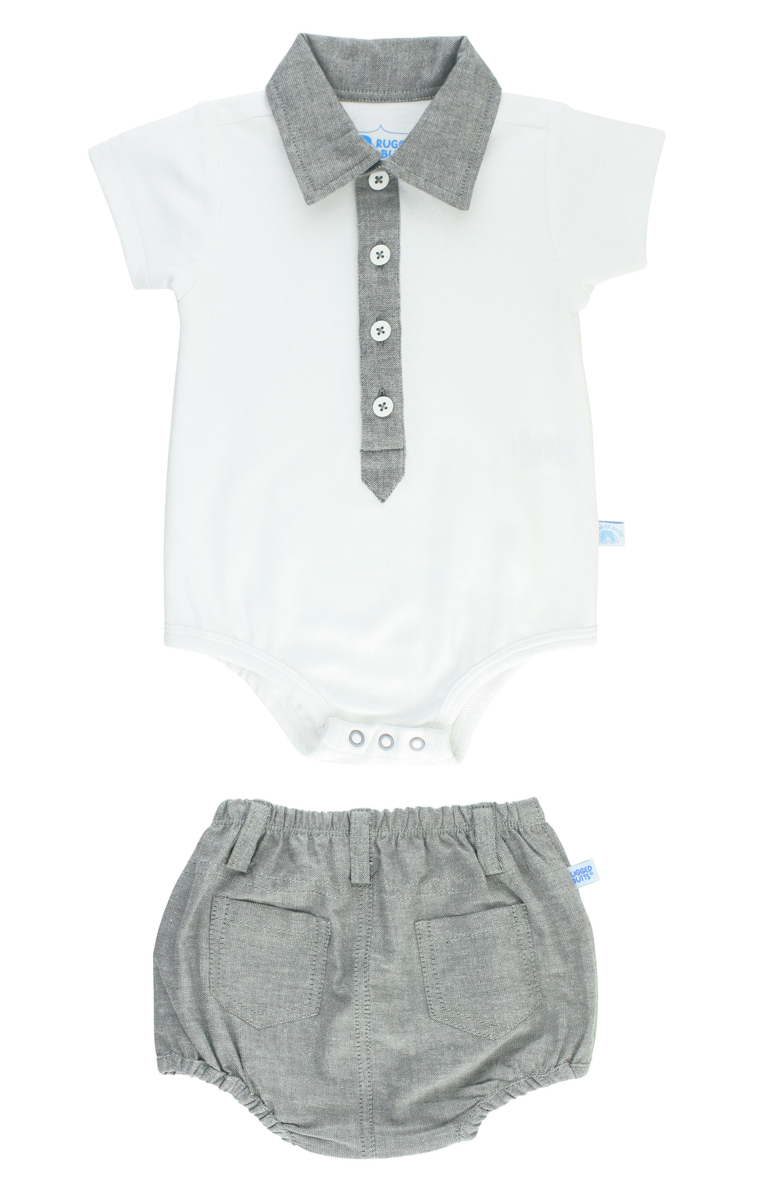 Polo Bodysuit & Chambray Shorts Set,                             Main thumbnail 1, color,                             060