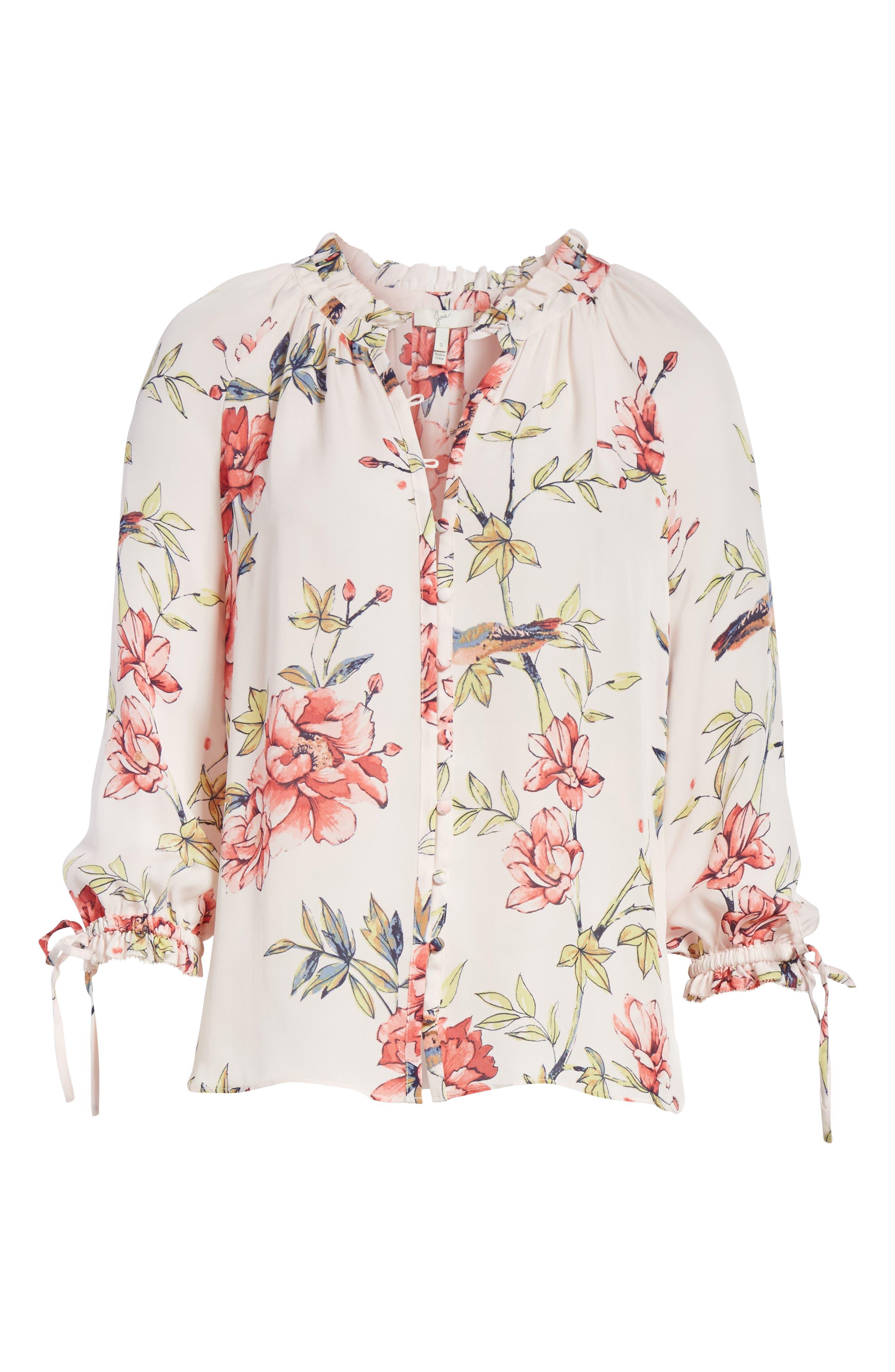 Corsen Floral Silk Blouse,                             Alternate thumbnail 12, color,