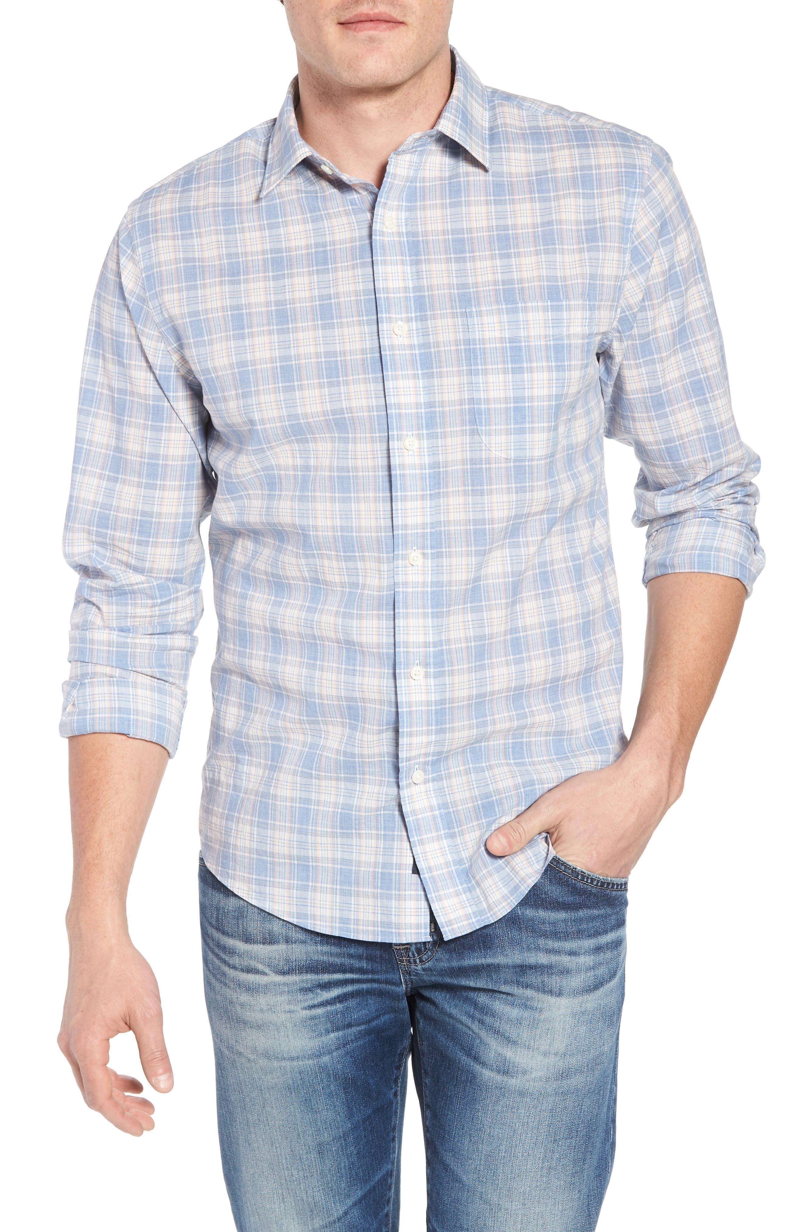 Ventura Plaid Sport Shirt,                             Main thumbnail 1, color,                             BLUE CORAL GREY