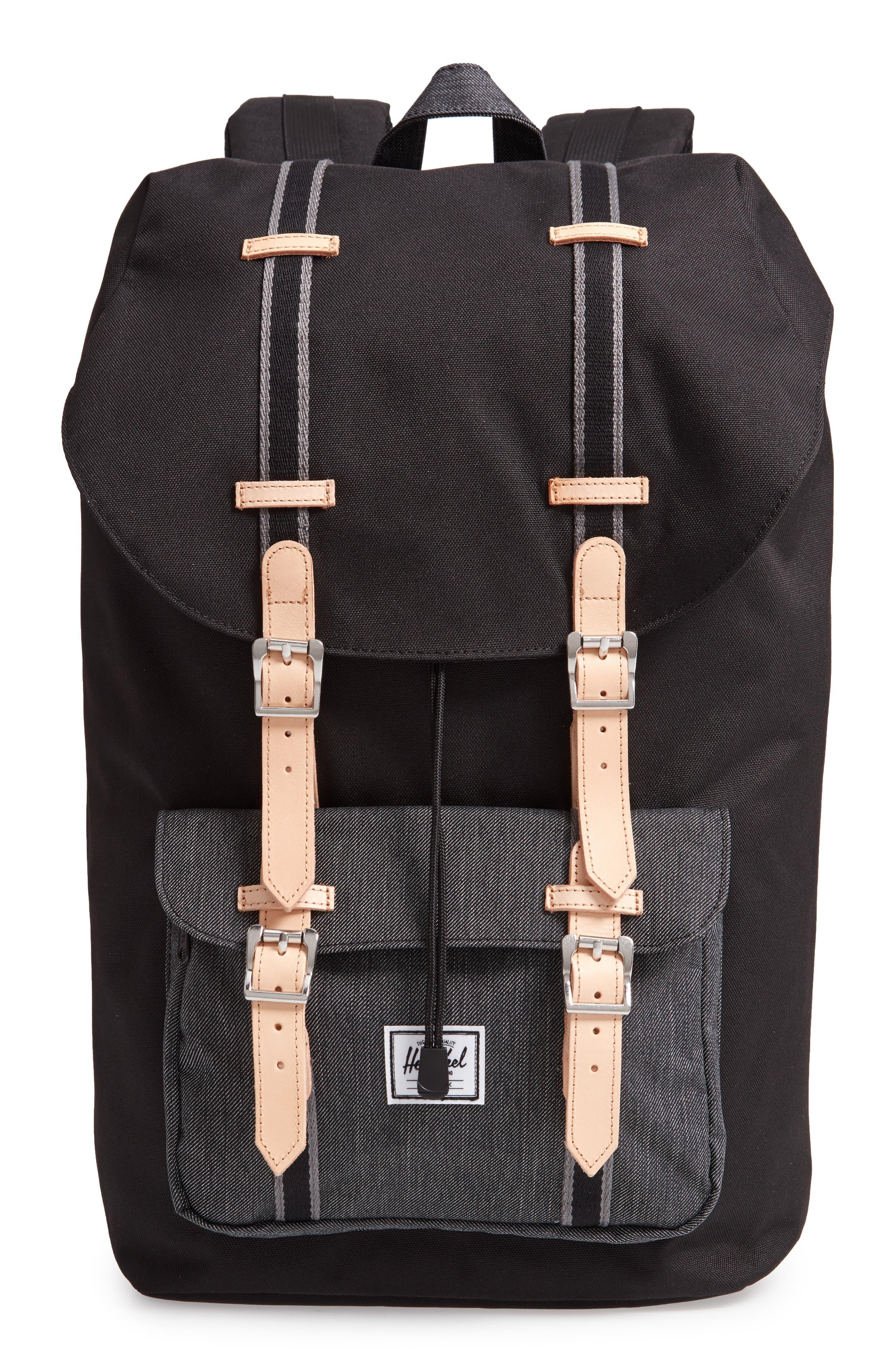 Little America Offset Backpack,                             Main thumbnail 1, color,                             BLACK/ BLACK DENIM