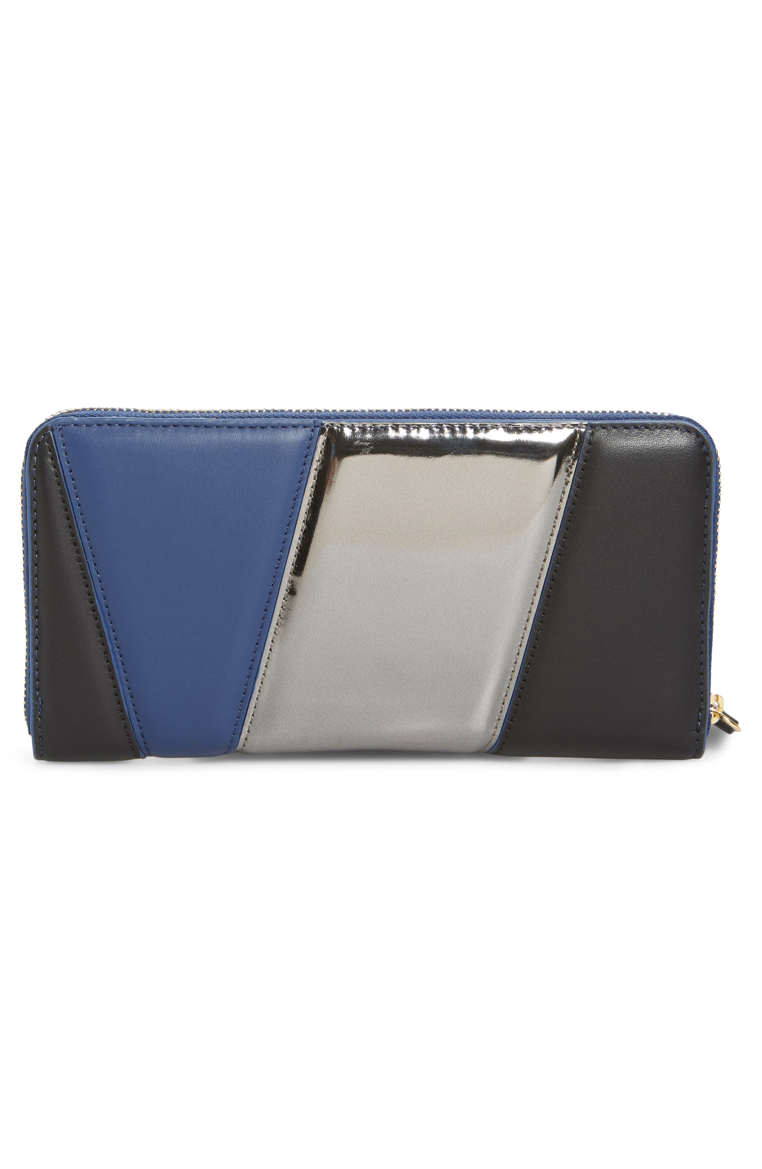 Colorblock Leather Continental Wallet,                             Alternate thumbnail 3, color,                             400