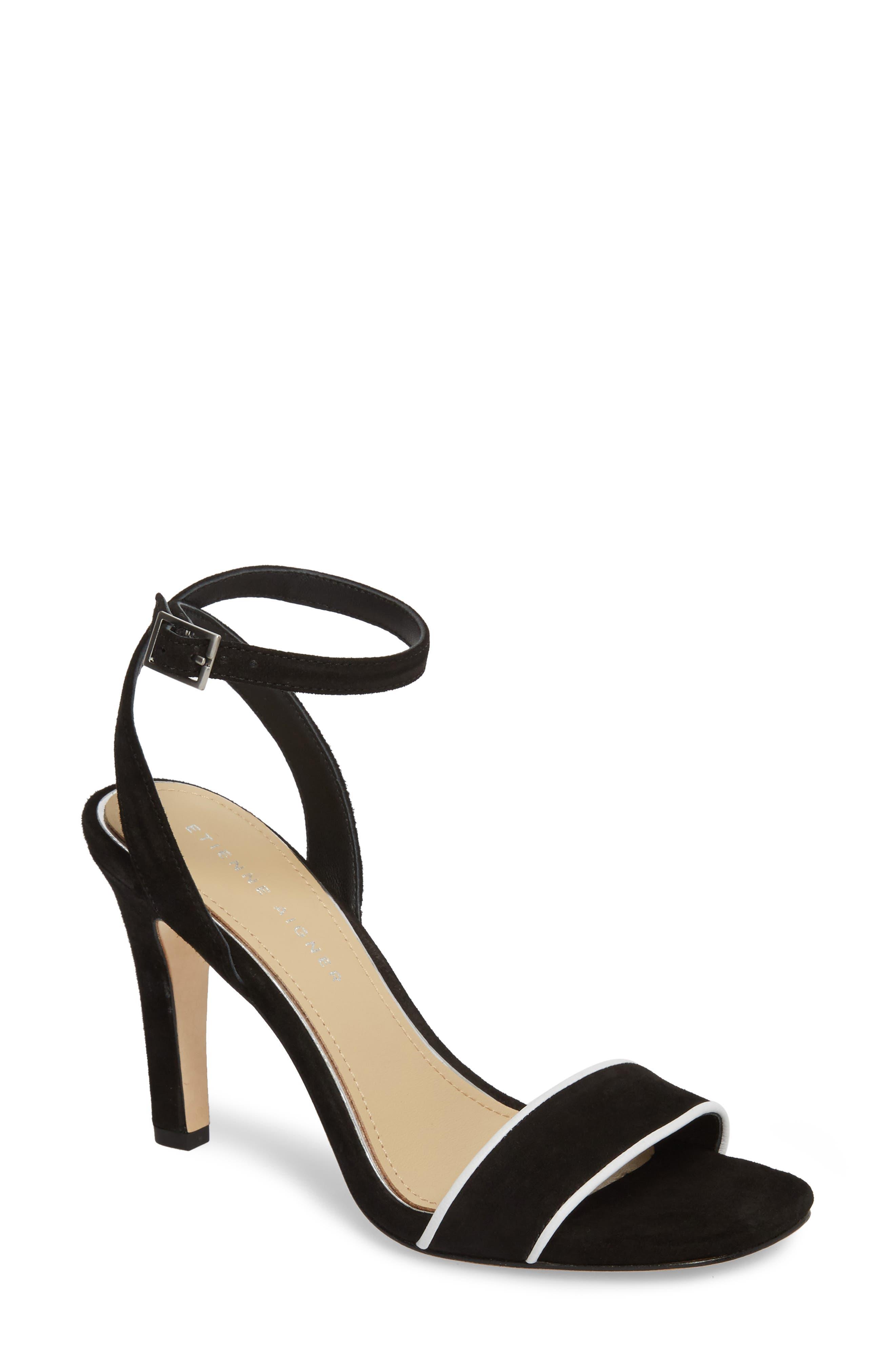 Martini Sandal,                             Main thumbnail 1, color,                             BLACK/ WHITE SUEDE