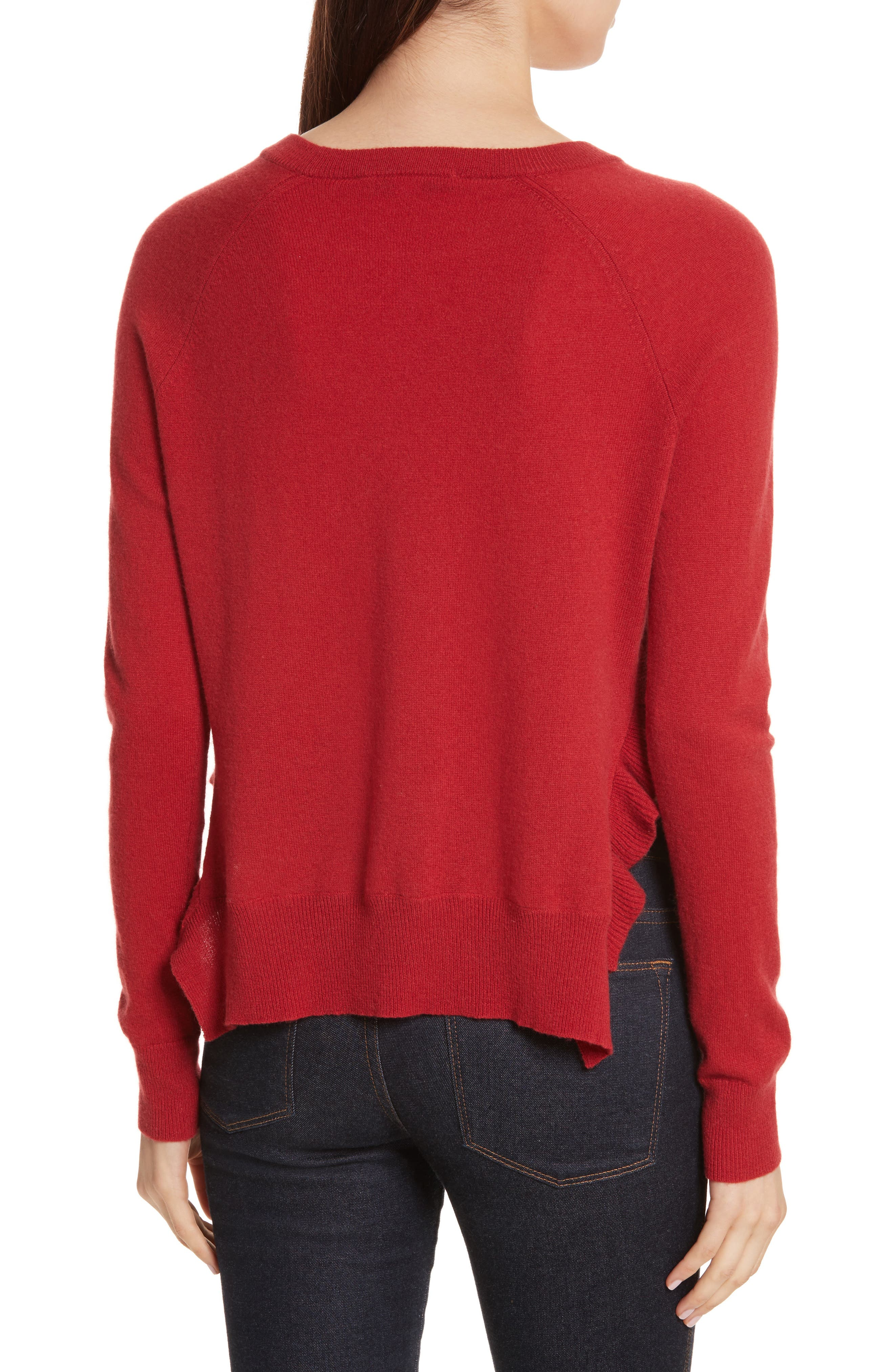 Cashmere Side Ruffle Sweater,                             Alternate thumbnail 2, color,                             404