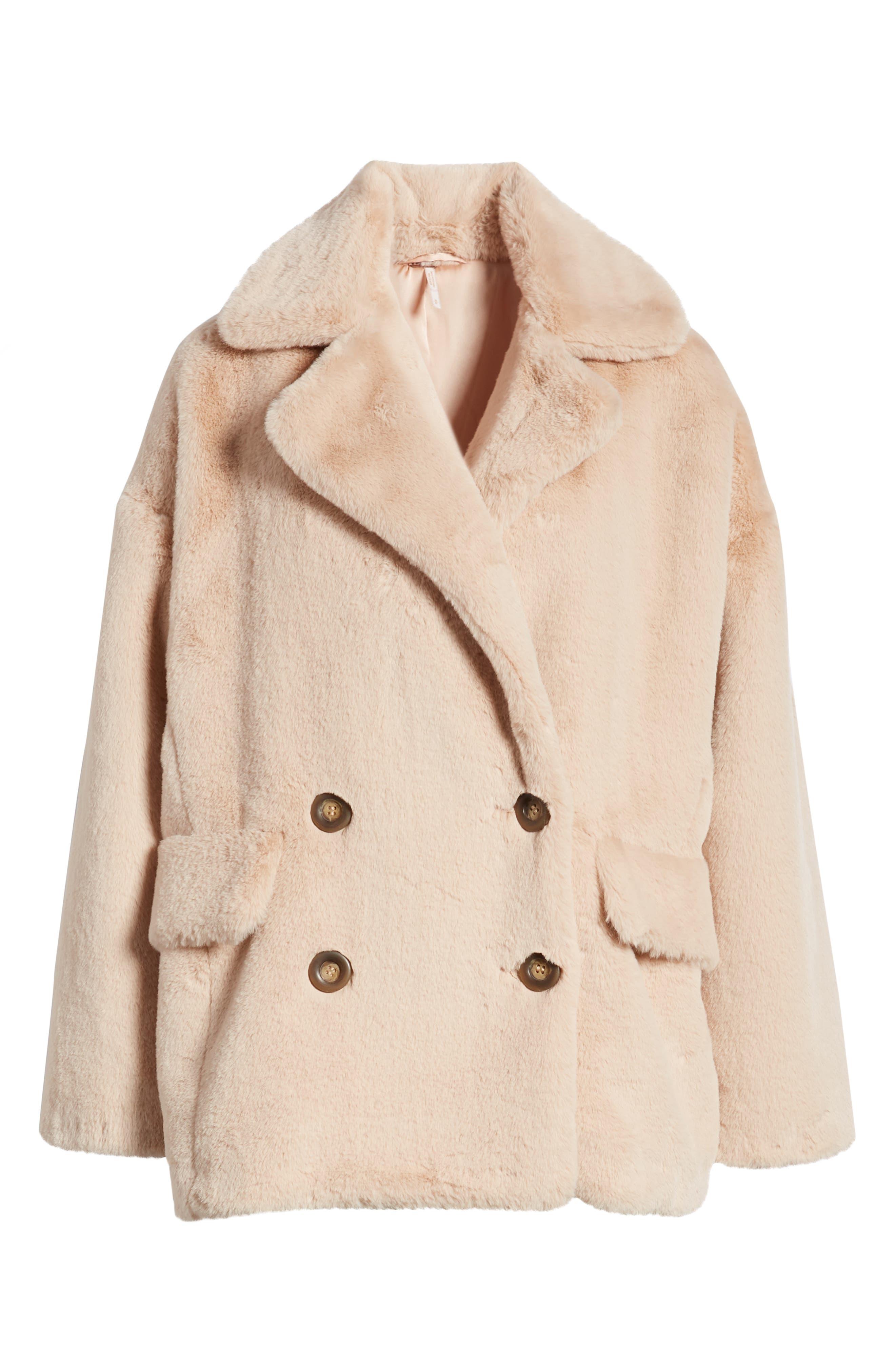 Kate Faux Fur Coat,                             Alternate thumbnail 4, color,                             ROSE